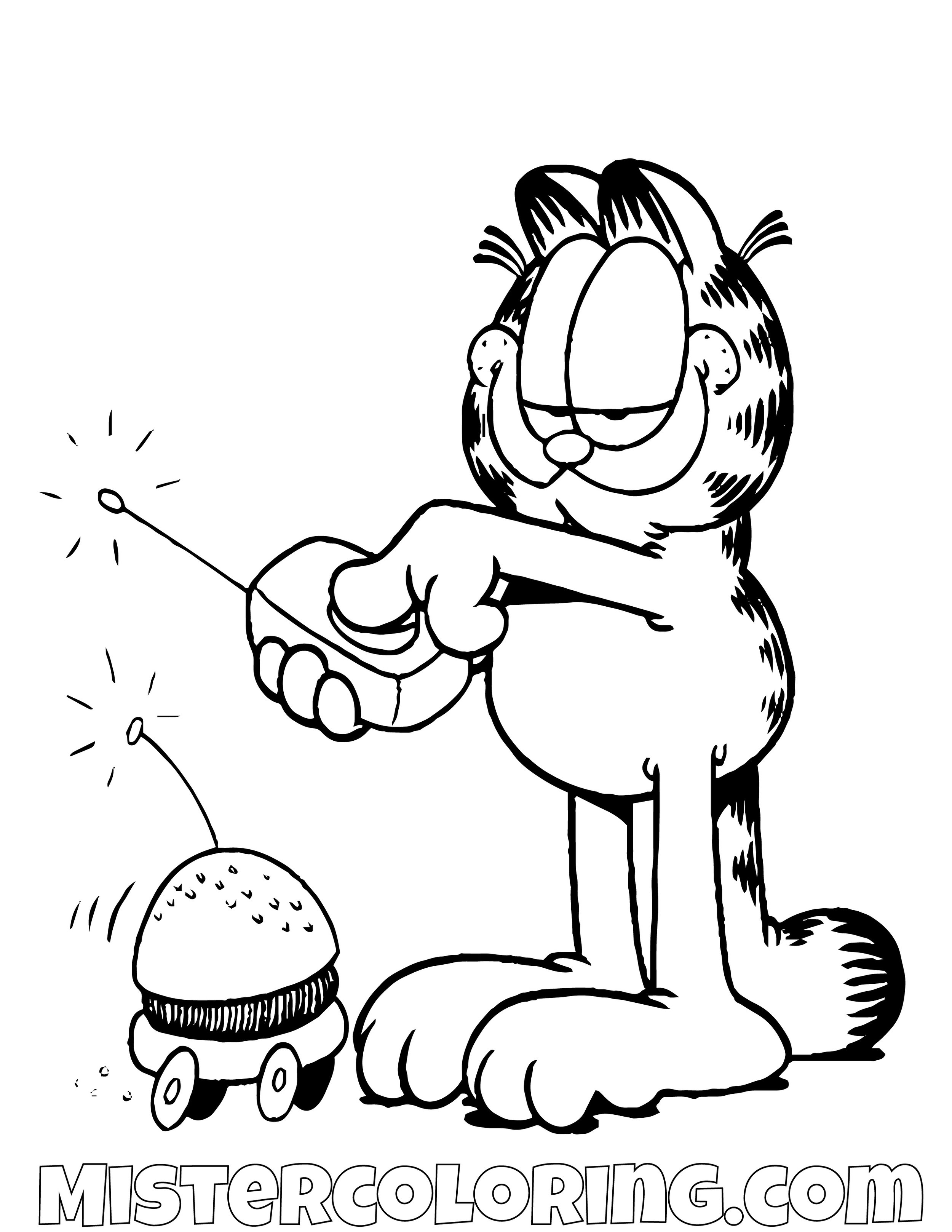 Garfield Driving Burger Car Coloring Page
