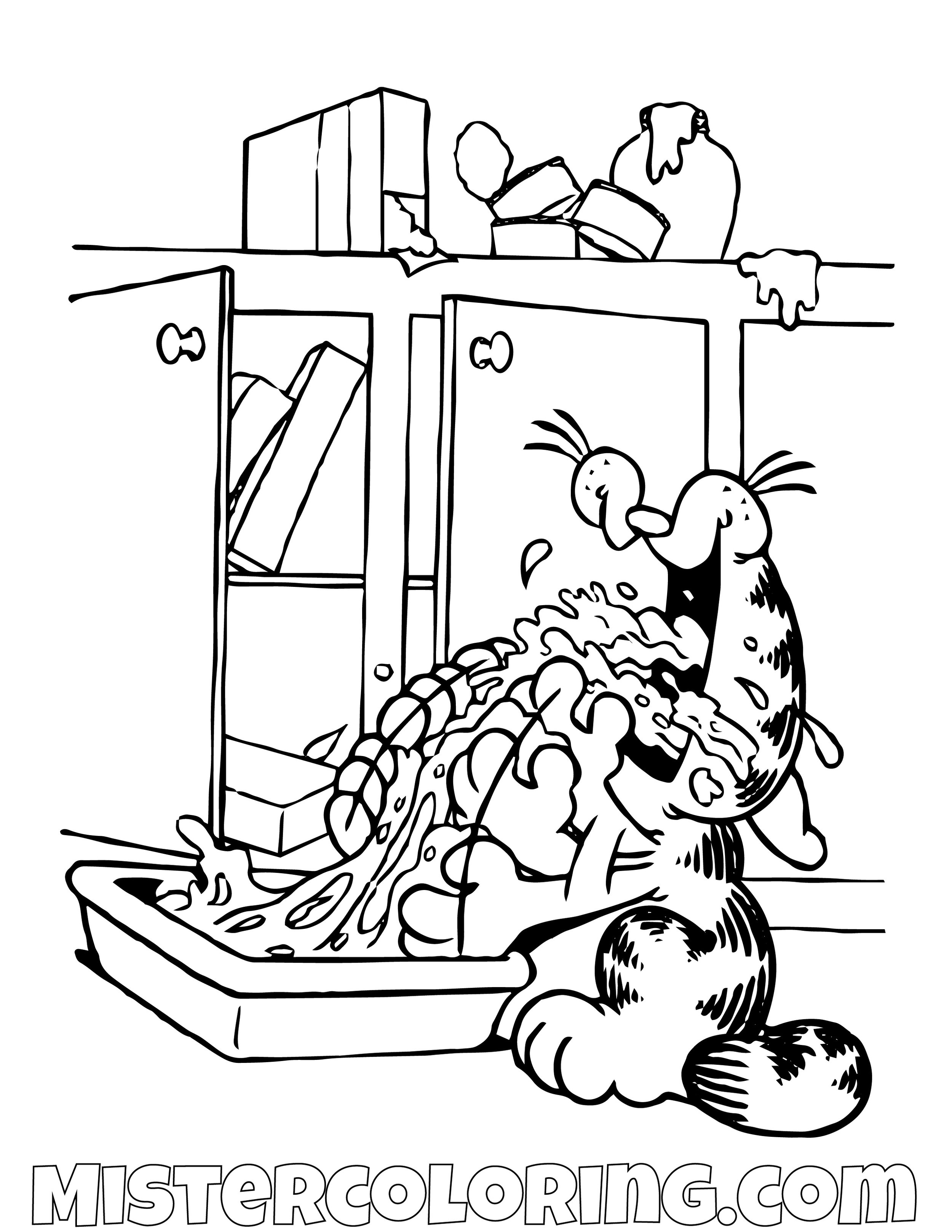 Garfield Eating At The Kitchen Coloring Page