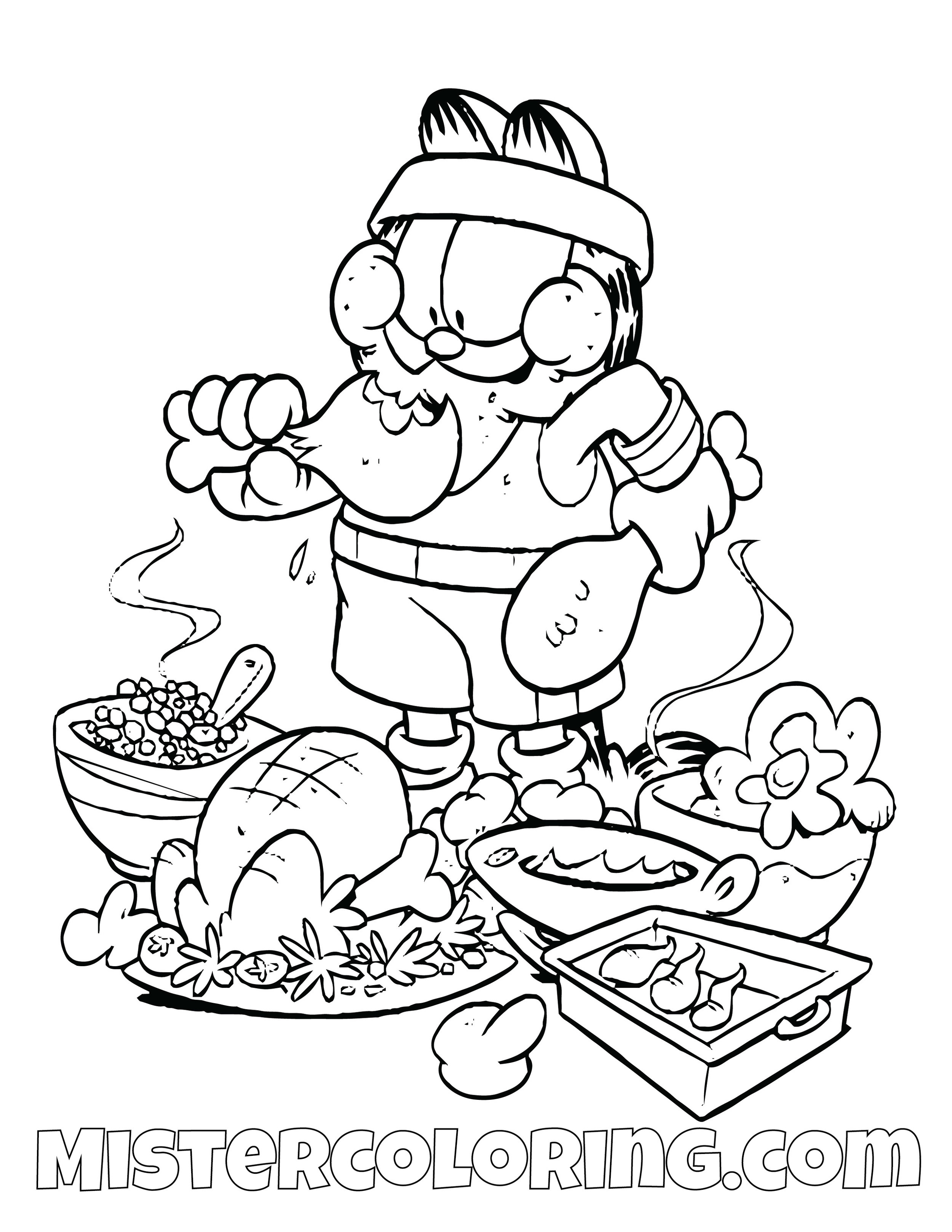 Garfield Eating Coloring Page