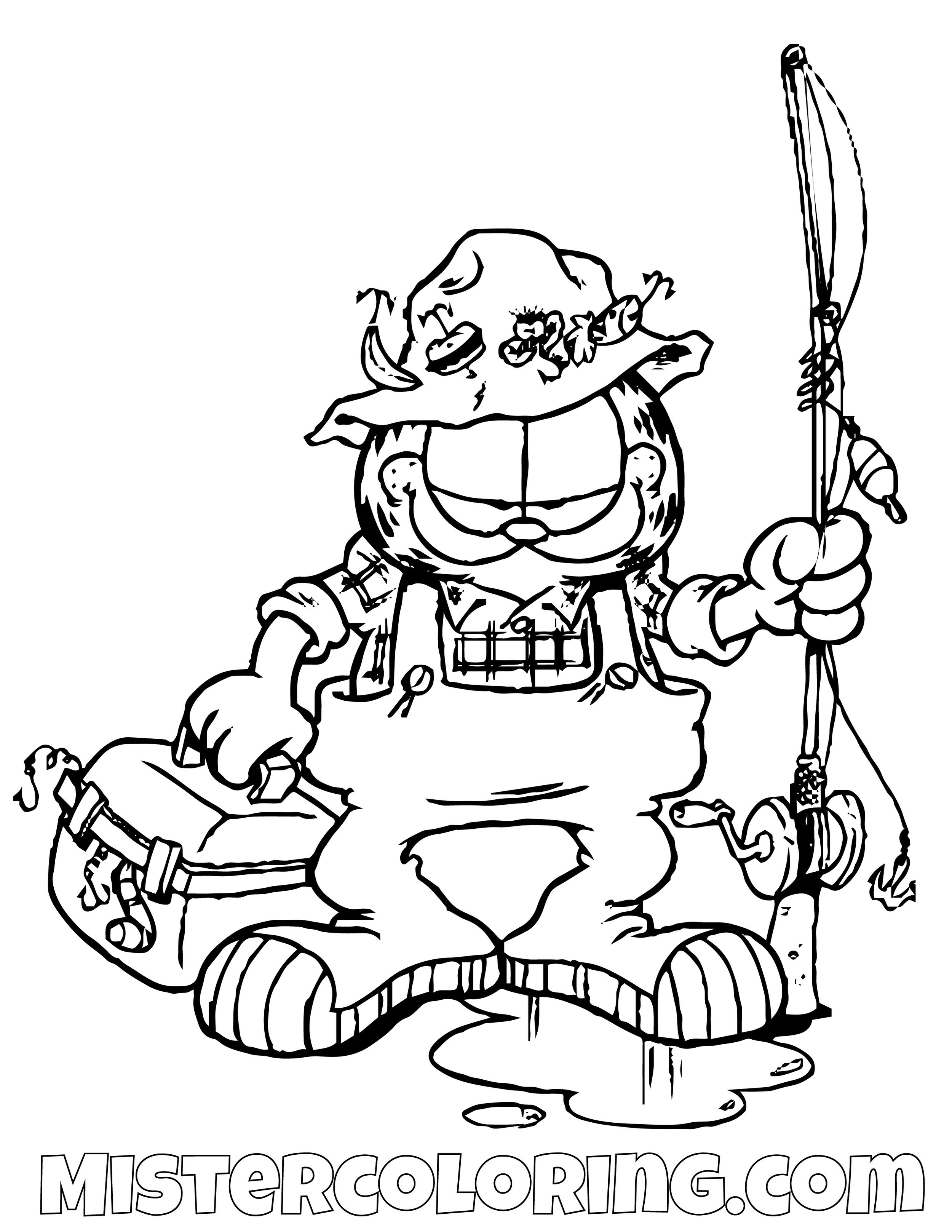 Garfield Getting Ready To Fish Coloring Page