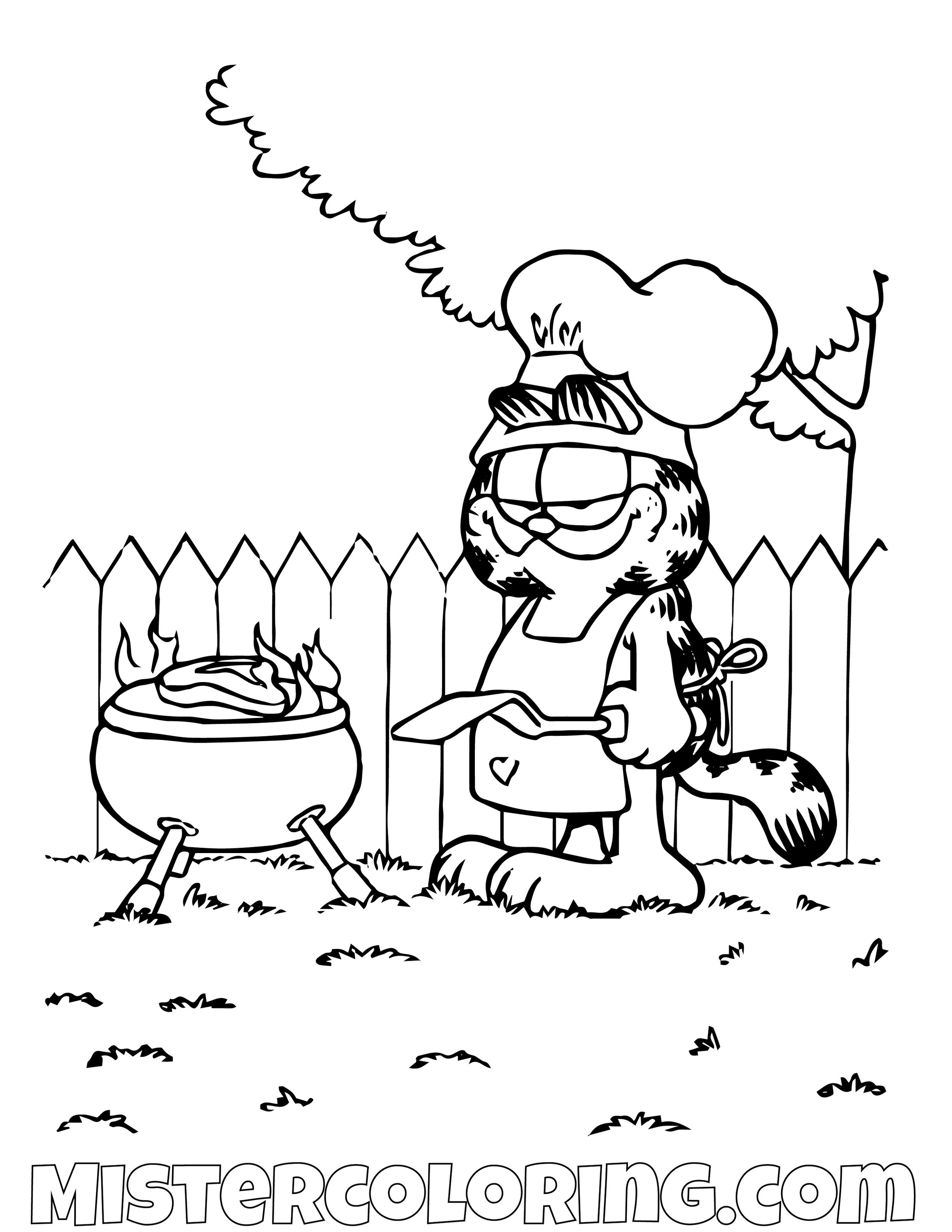 Garfield Having A Barbecue Coloring Page