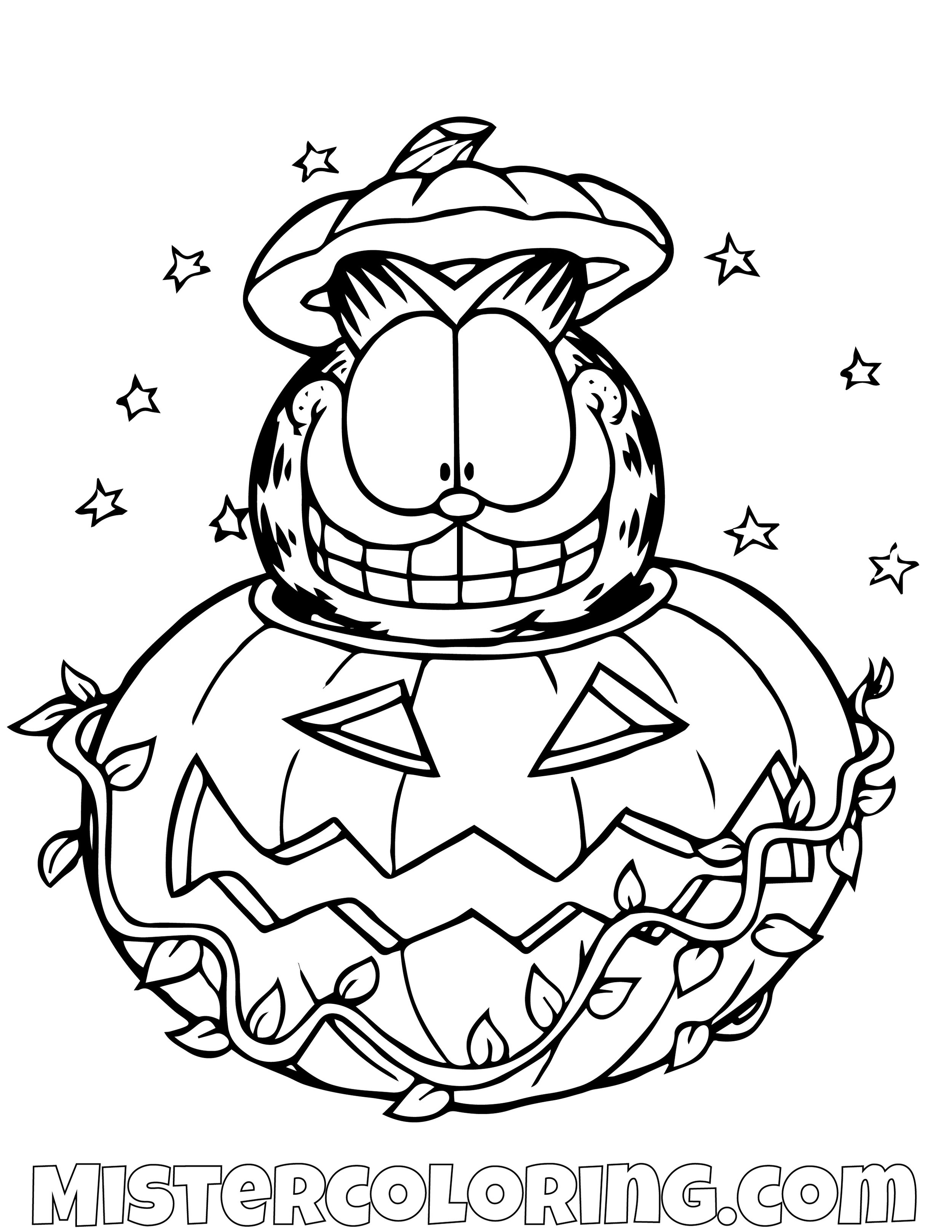 Garfield Hiding In Halloween Pumpkin Coloring Page