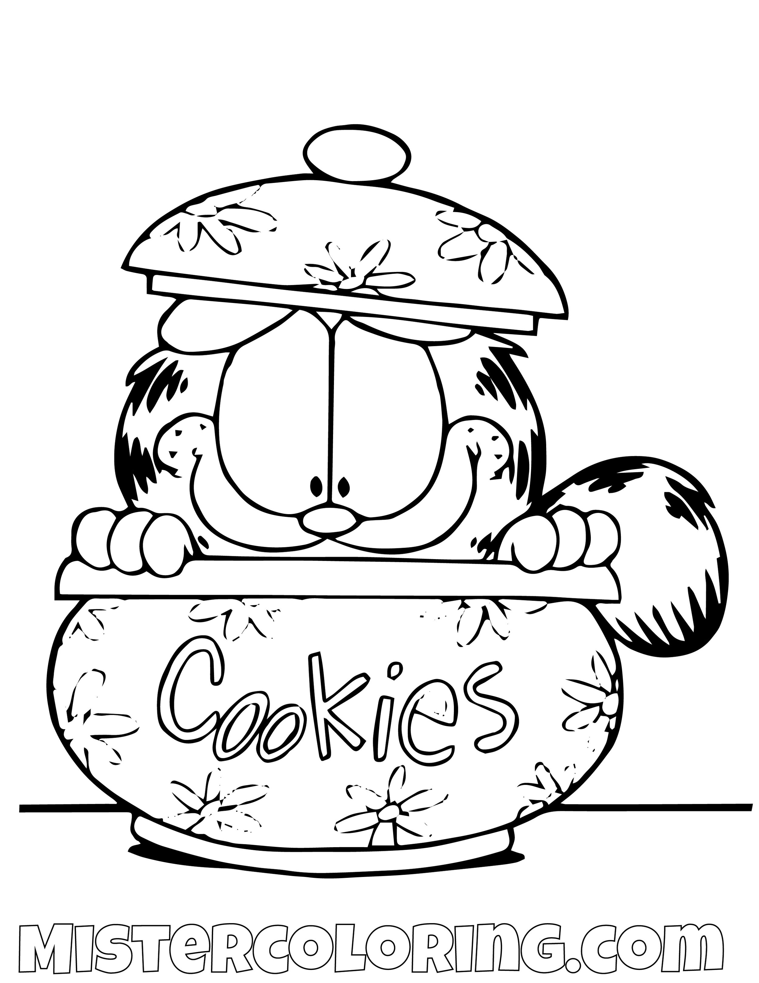 Garfield In A Cookie Jar Coloring Page