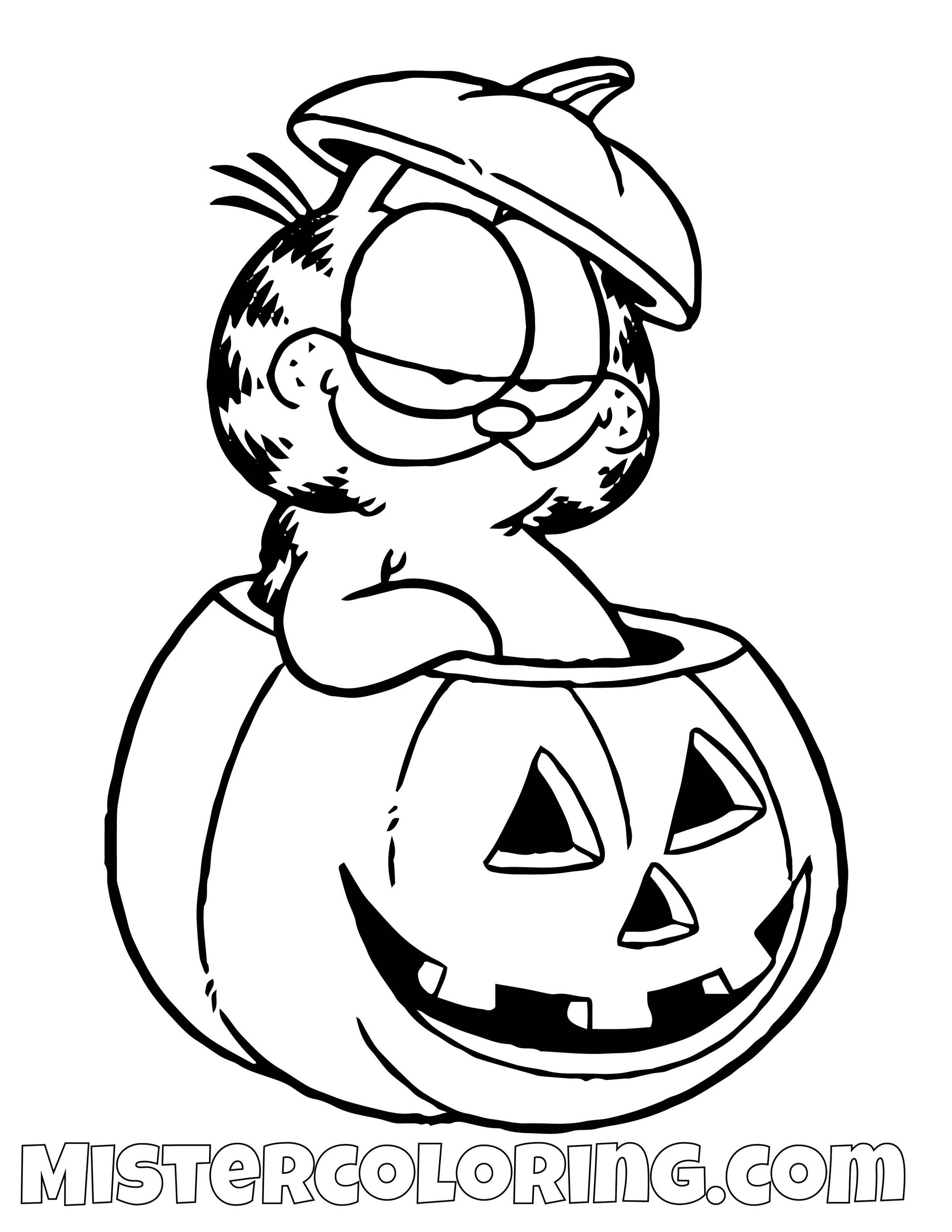 Garfield In A Halloween Pumpkin Coloring Page
