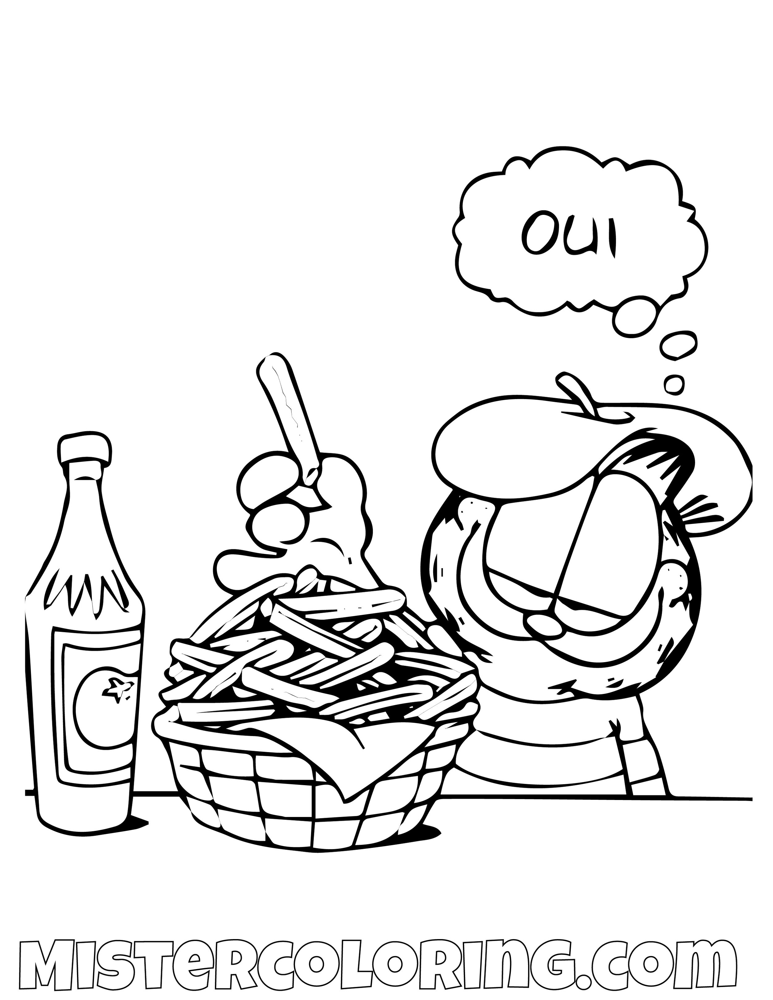 Garfield Italian Fries Coloring Page