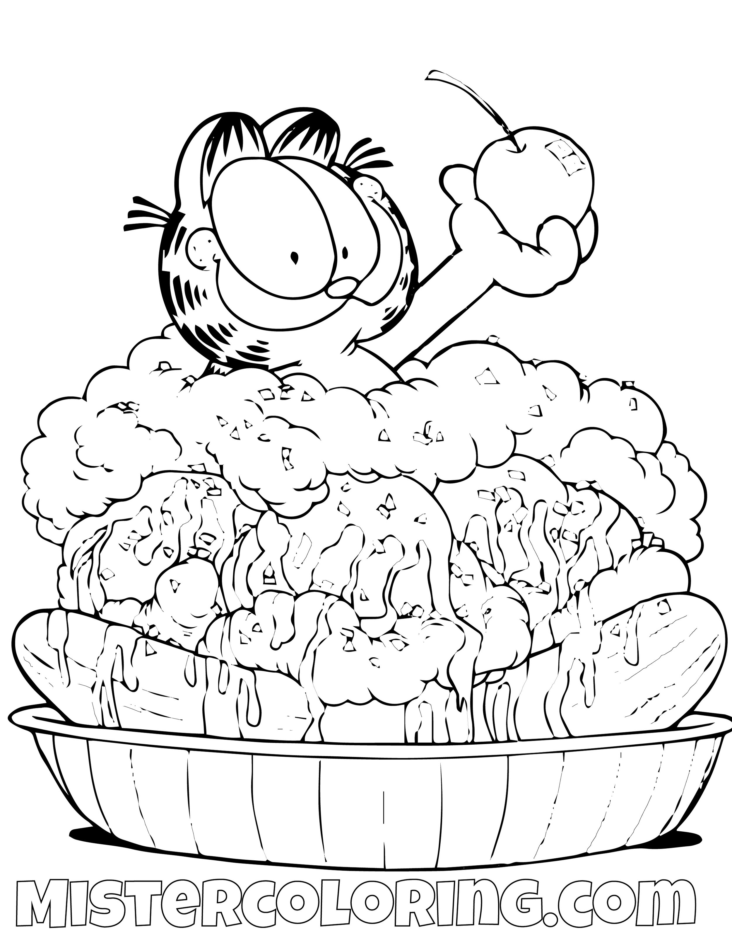 Garfield In A Sundae Coloring Page