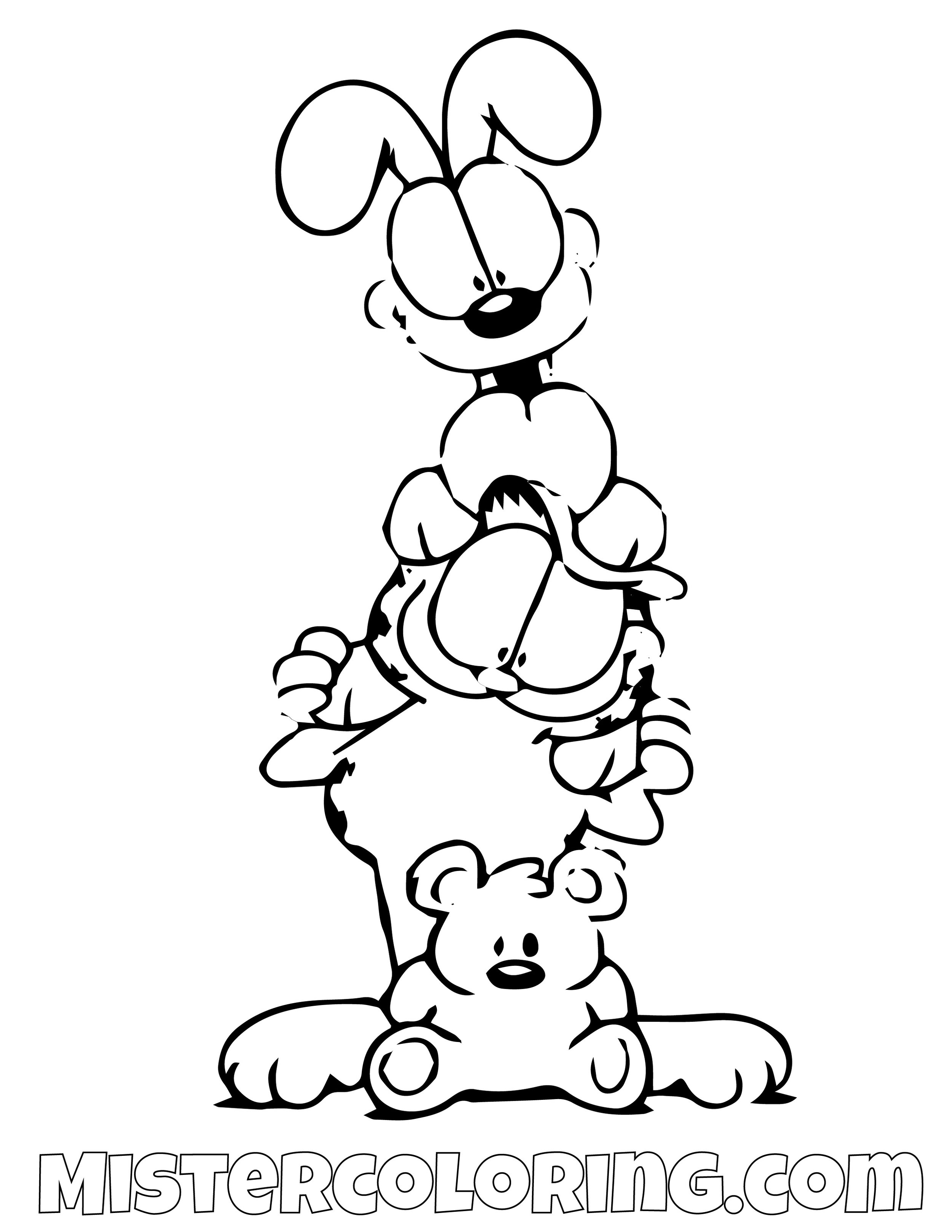 Garfield Odie And Spooky Coloring Page