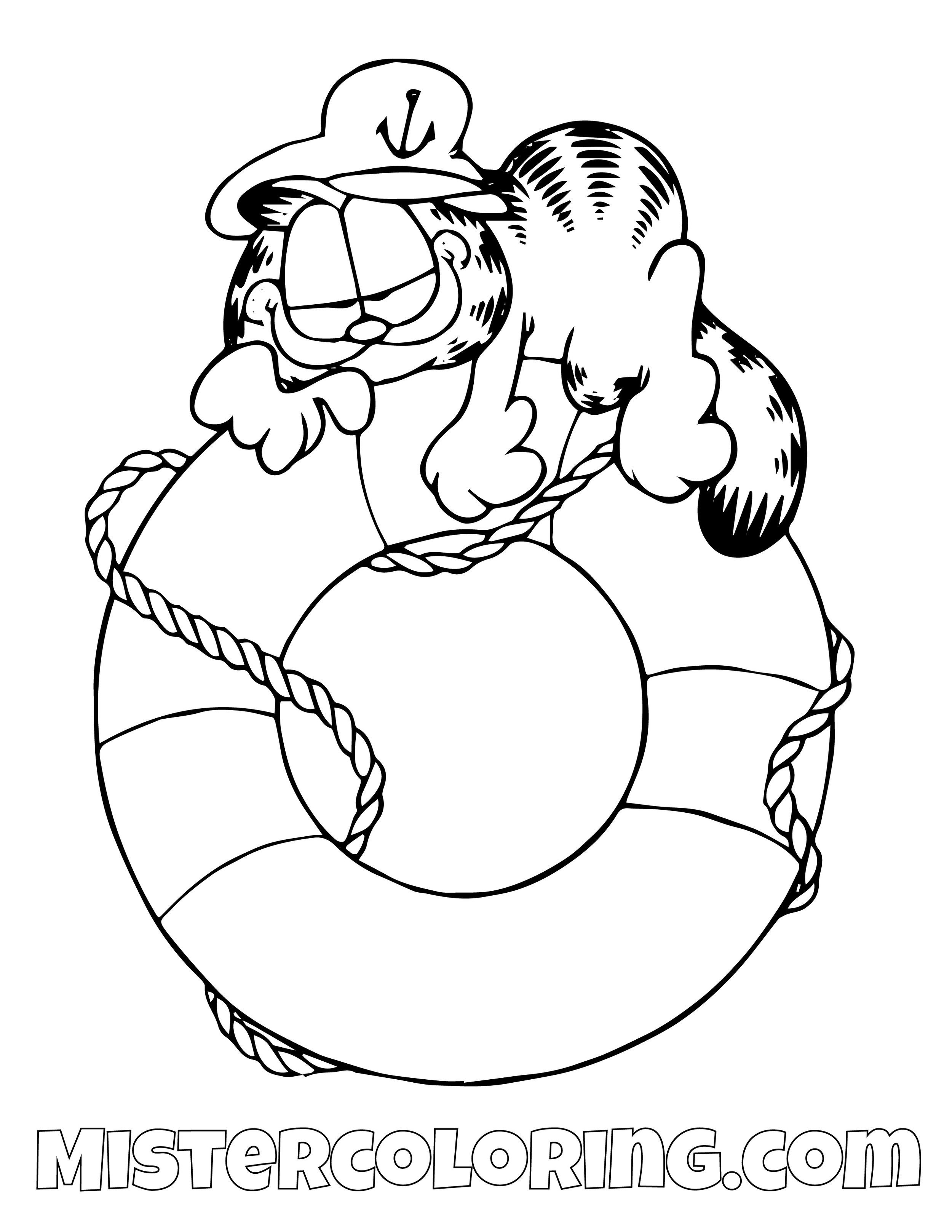 Garfield On A Life Preserver Coloring Page