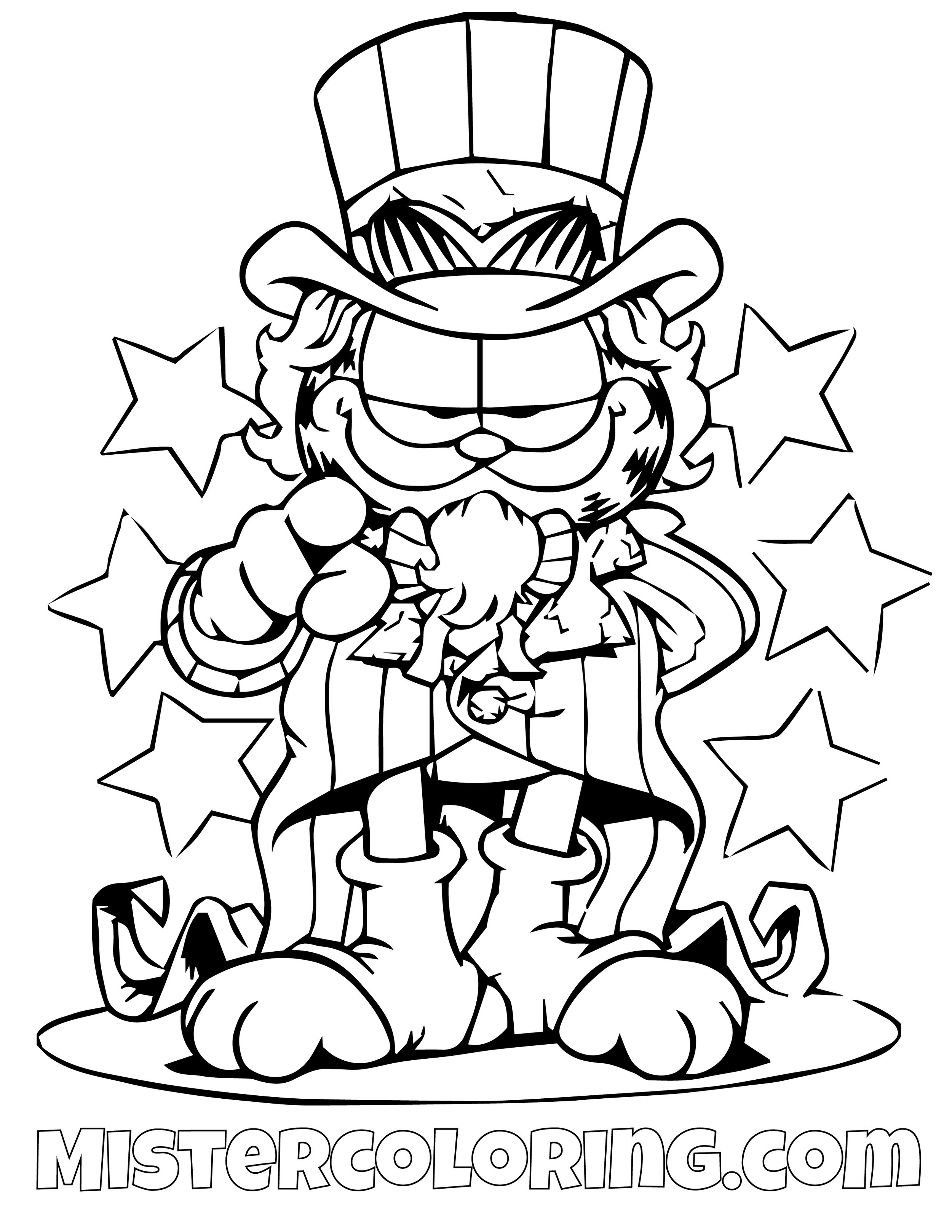 Garfield President Wants You Coloring Page