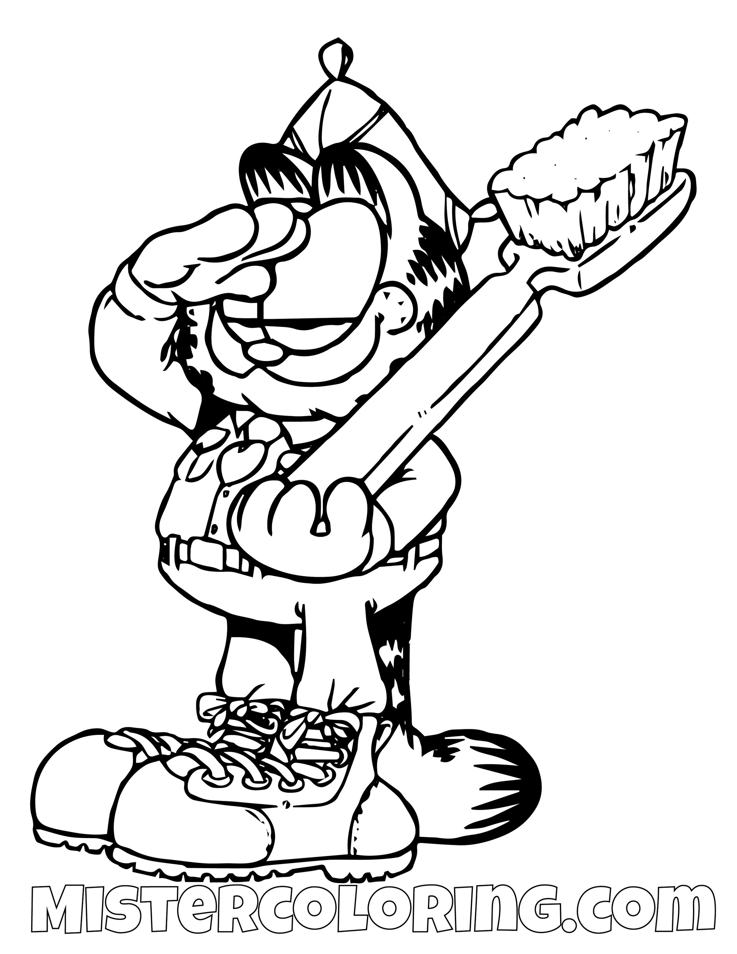 Garfield Saluting With Toothbrush Coloring Page