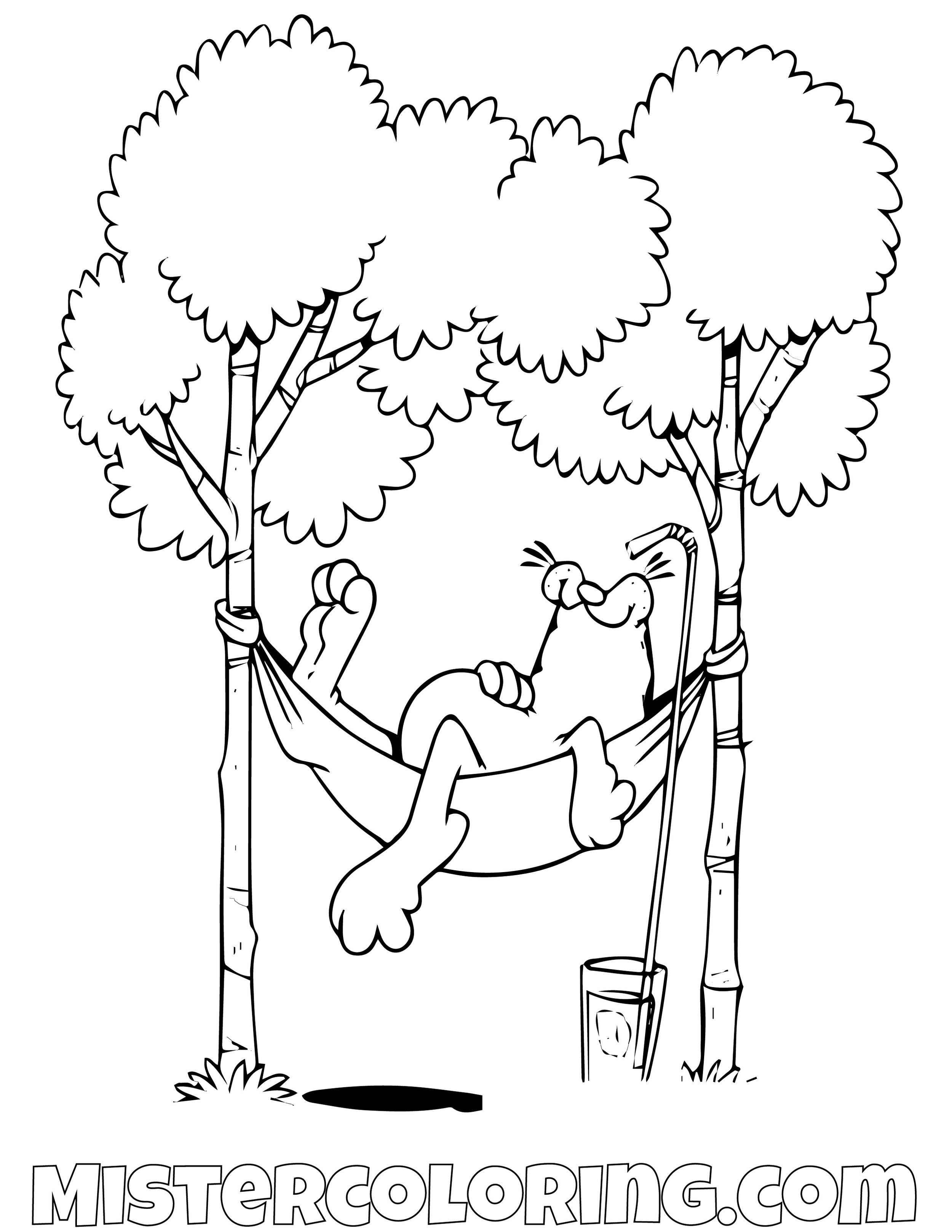 Garfield Sleeping On Hammock Coloring Page