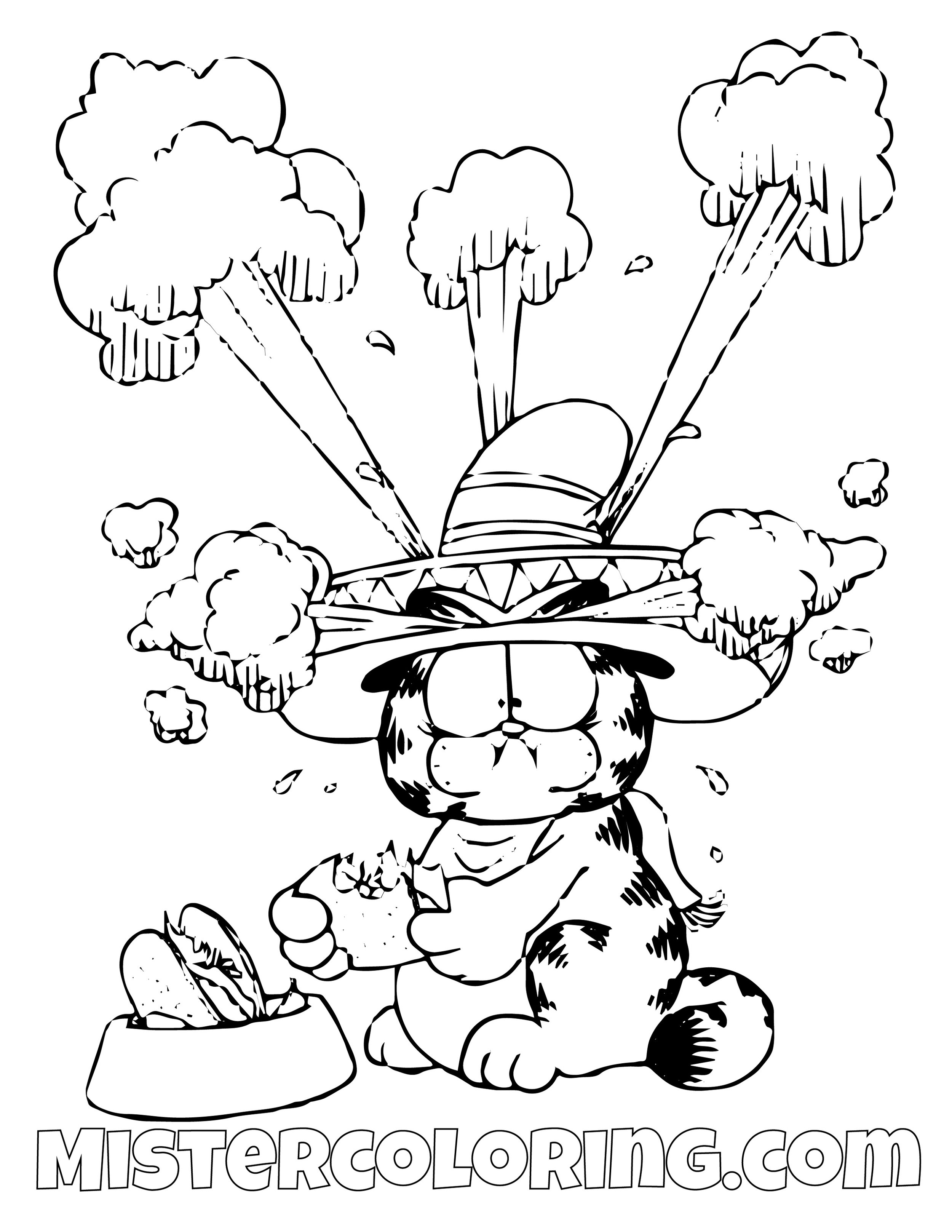 Garfield Spicy Taco Coloring Page