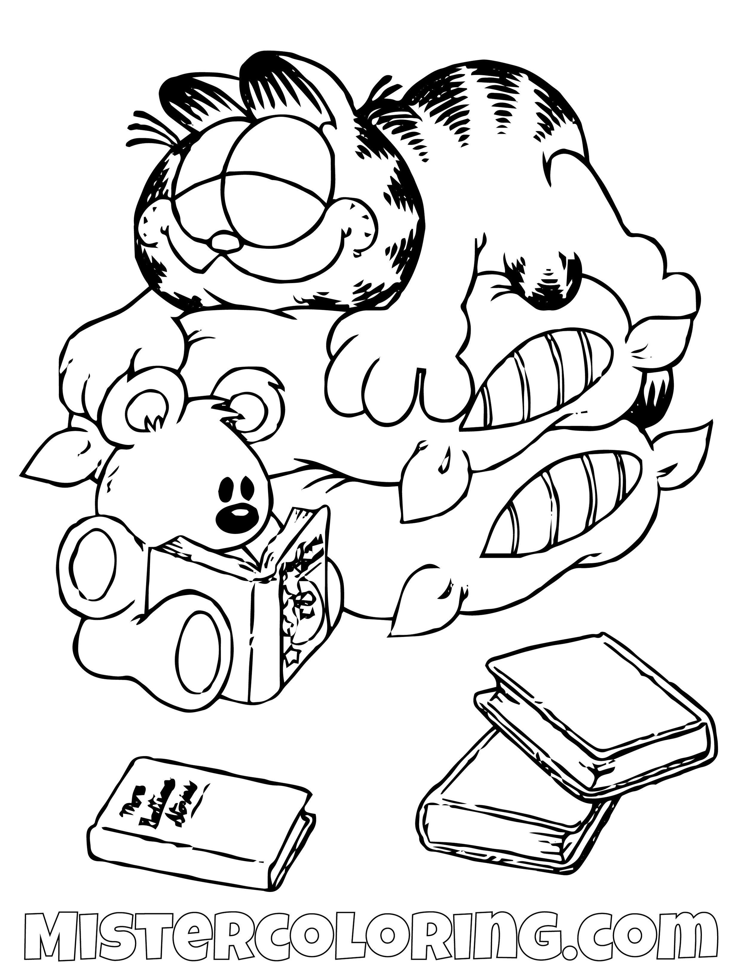 Garfield Sleeping With Spooky Coloring Page