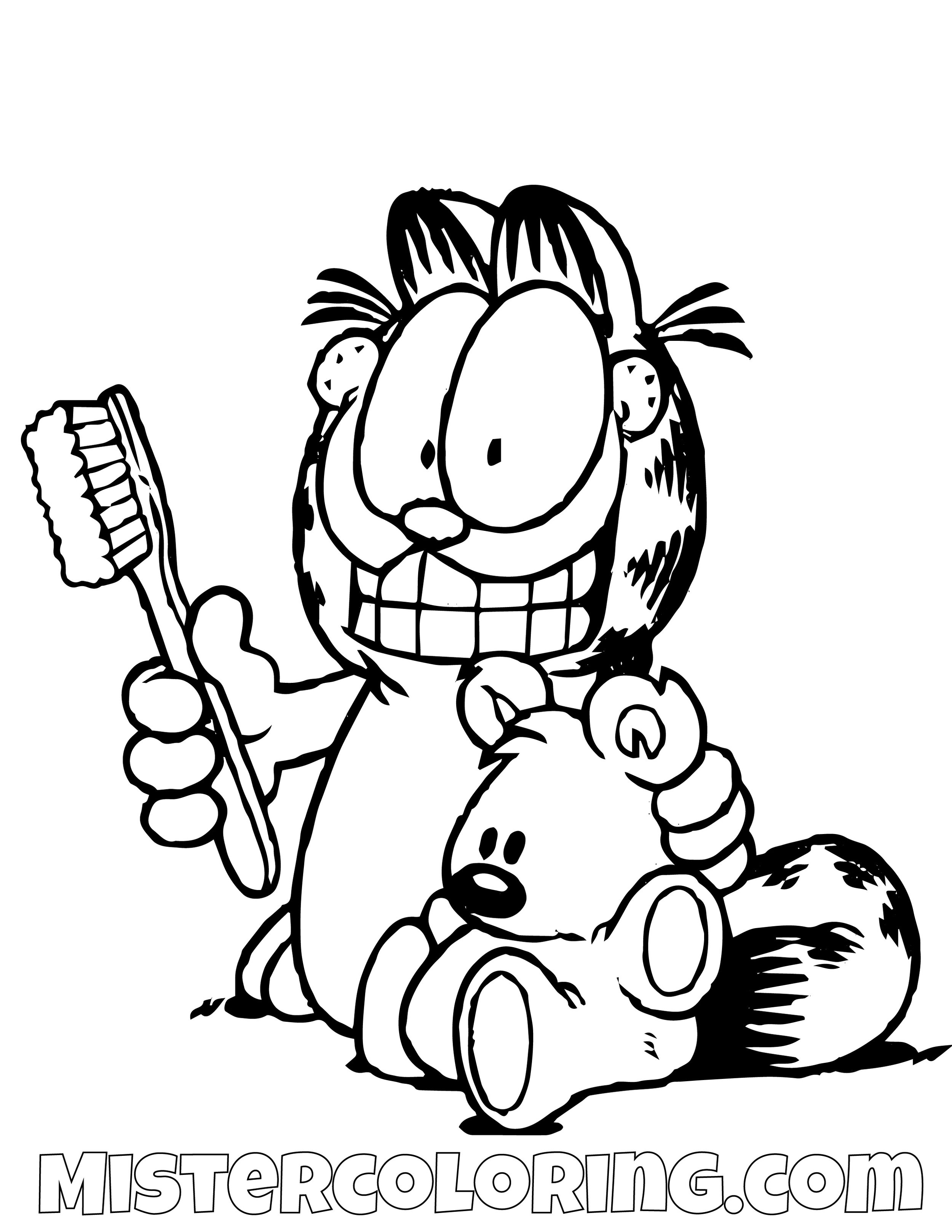 Garfield With A Toothbrush And Spooky Coloring Page