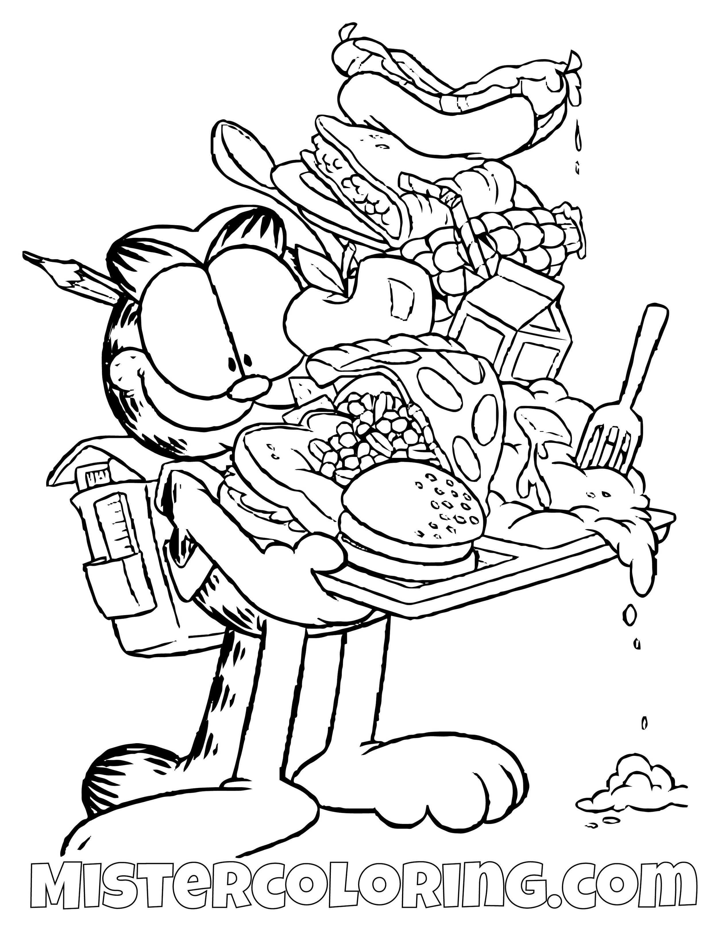 Garfield With A Tray Of Food Coloring Page