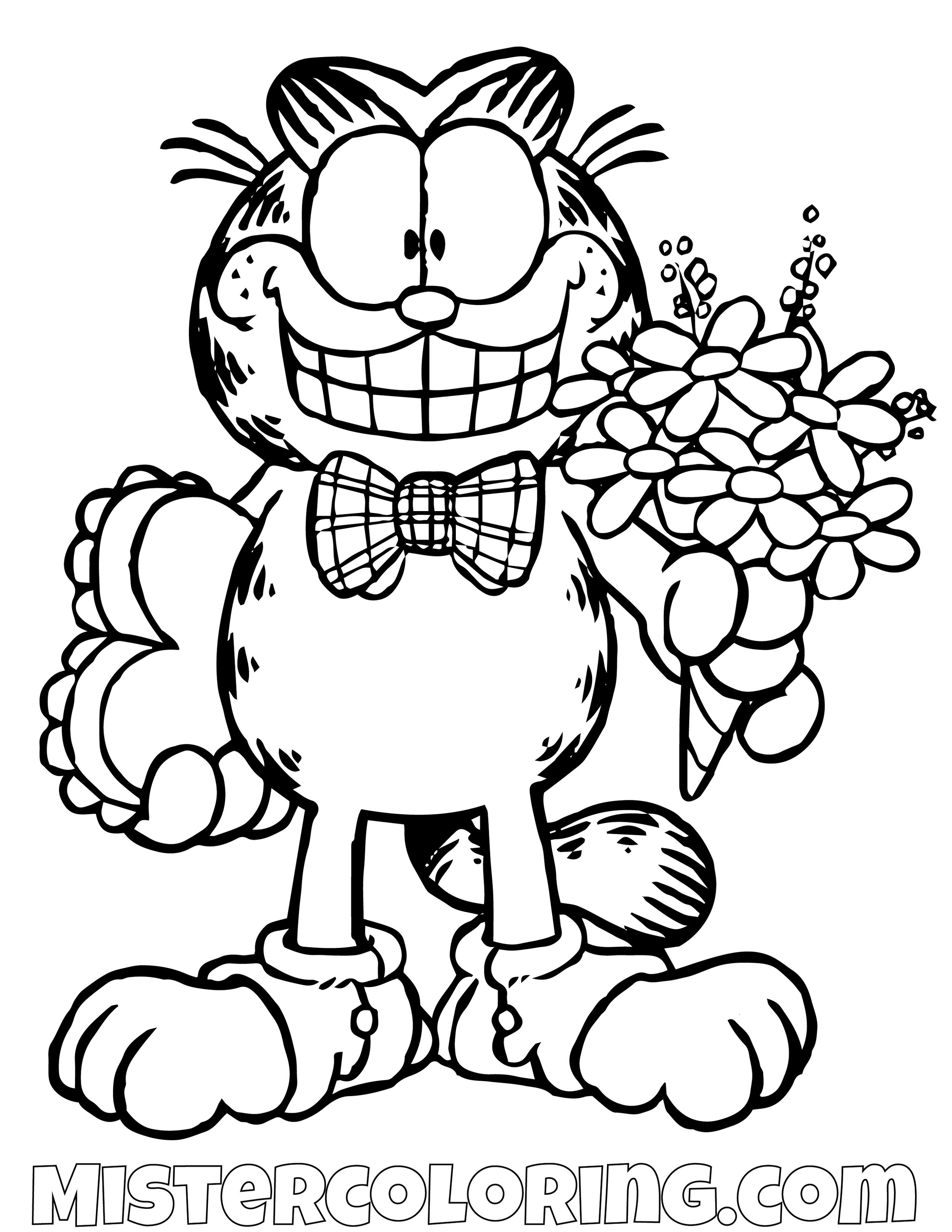 Garfield With Roses Coloring Pages