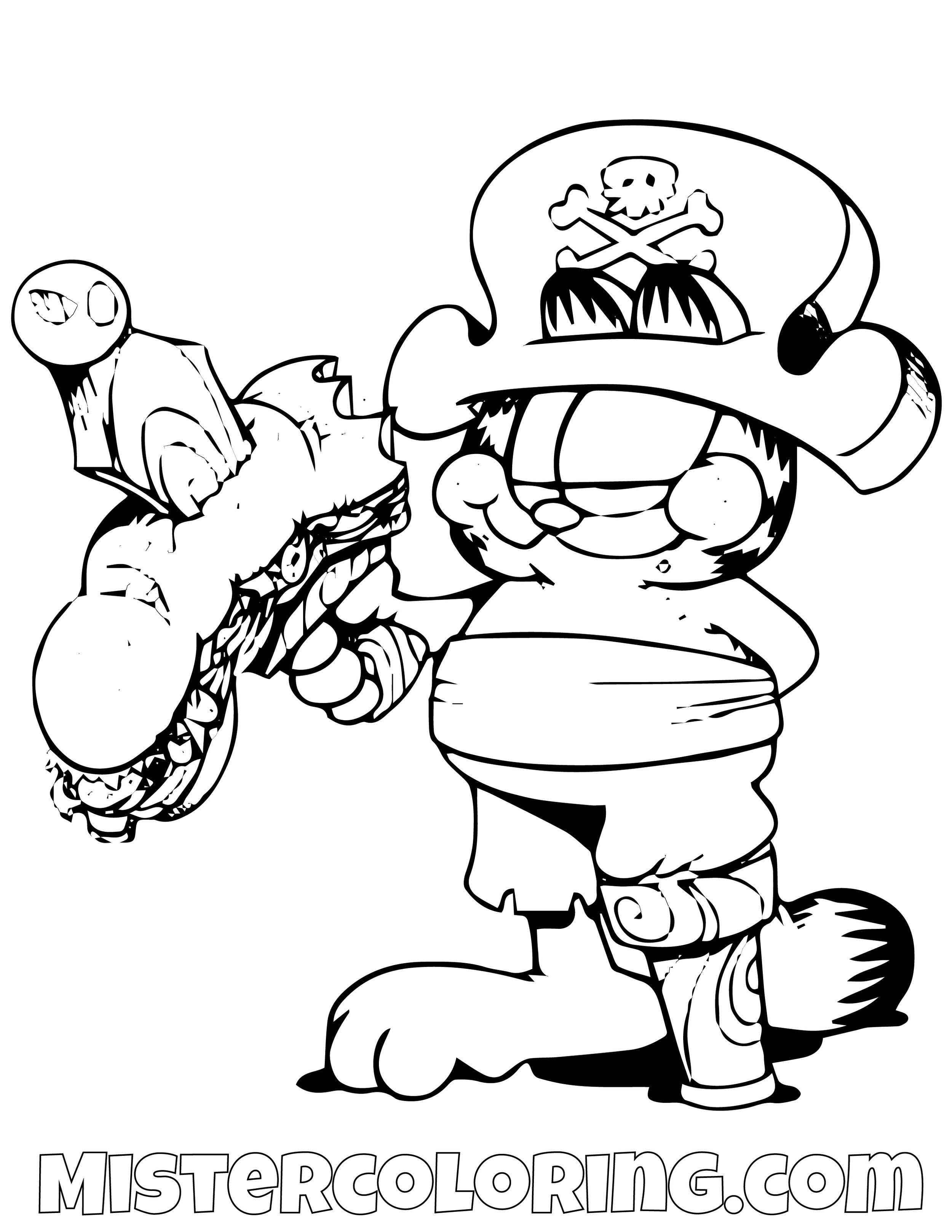 Garfield With Sandwich Through A Sword Coloring Page