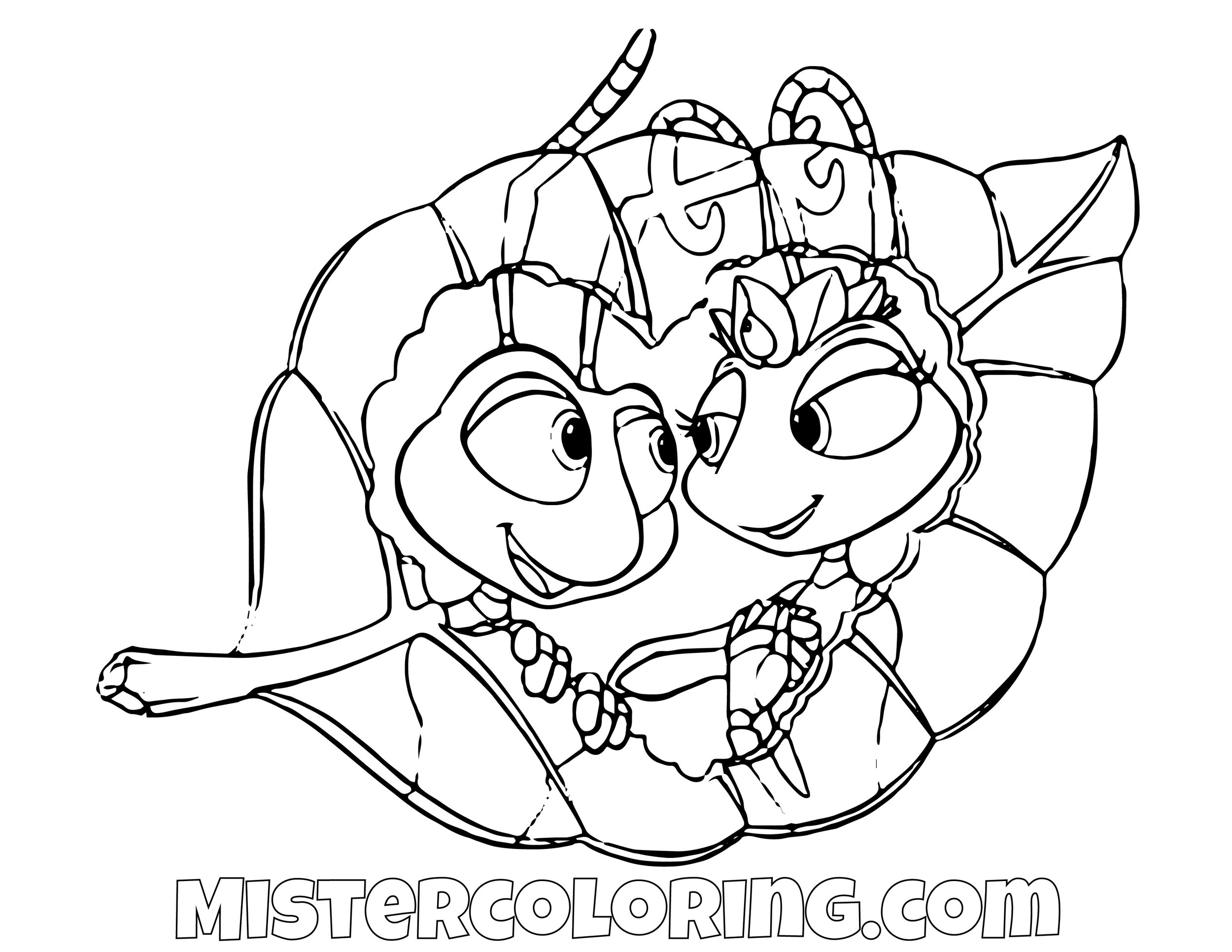 Flick And Princess Atta Posing A Bugs Life Coloring Page