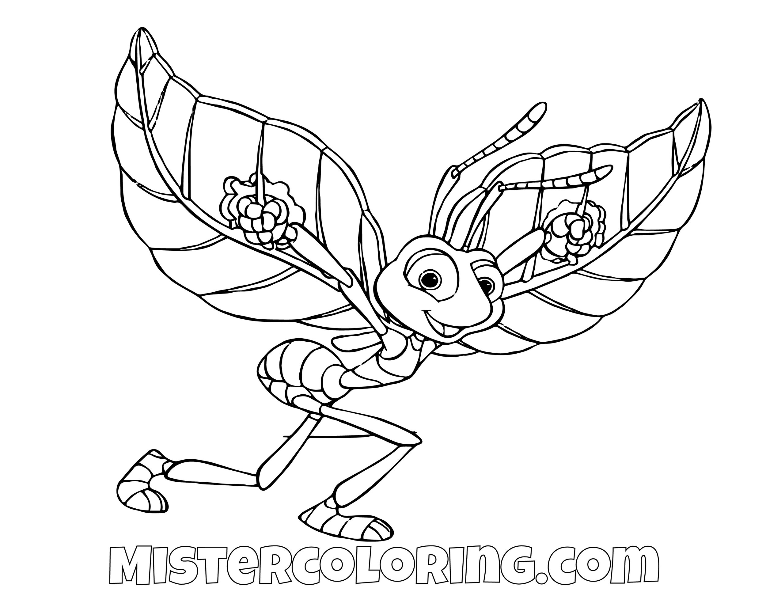 Flick Flying A Bugs Life Coloring Page