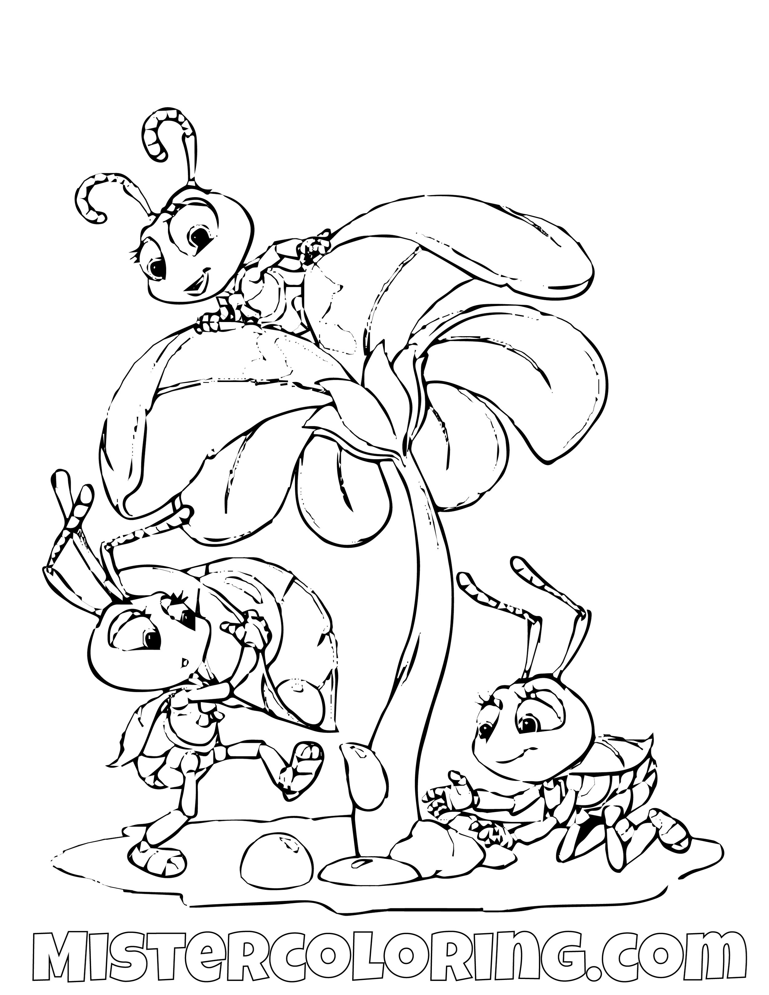 The Blueberries Catching Water A Bugs Life Coloring Page