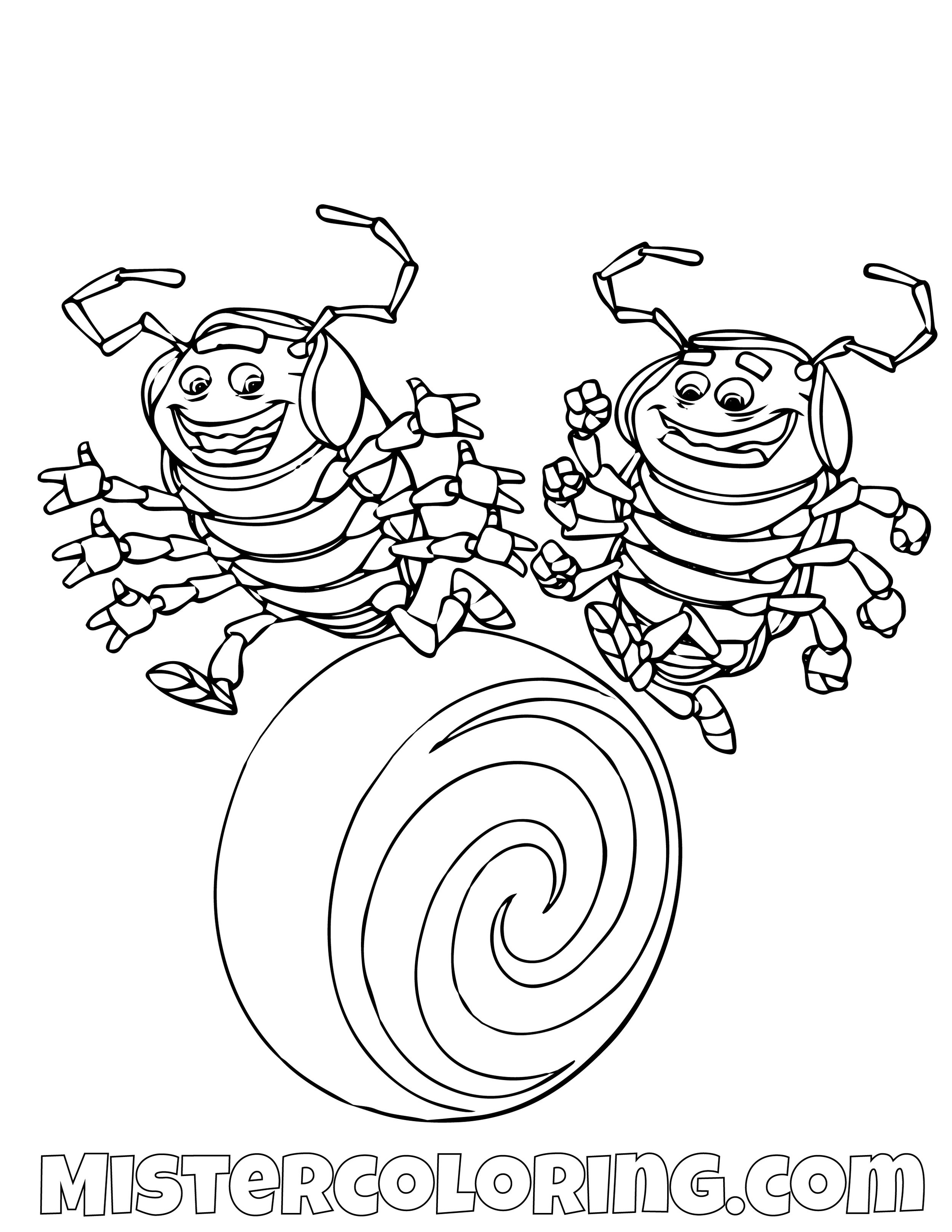 Tuck And Roll A Bugs Life Coloring Page