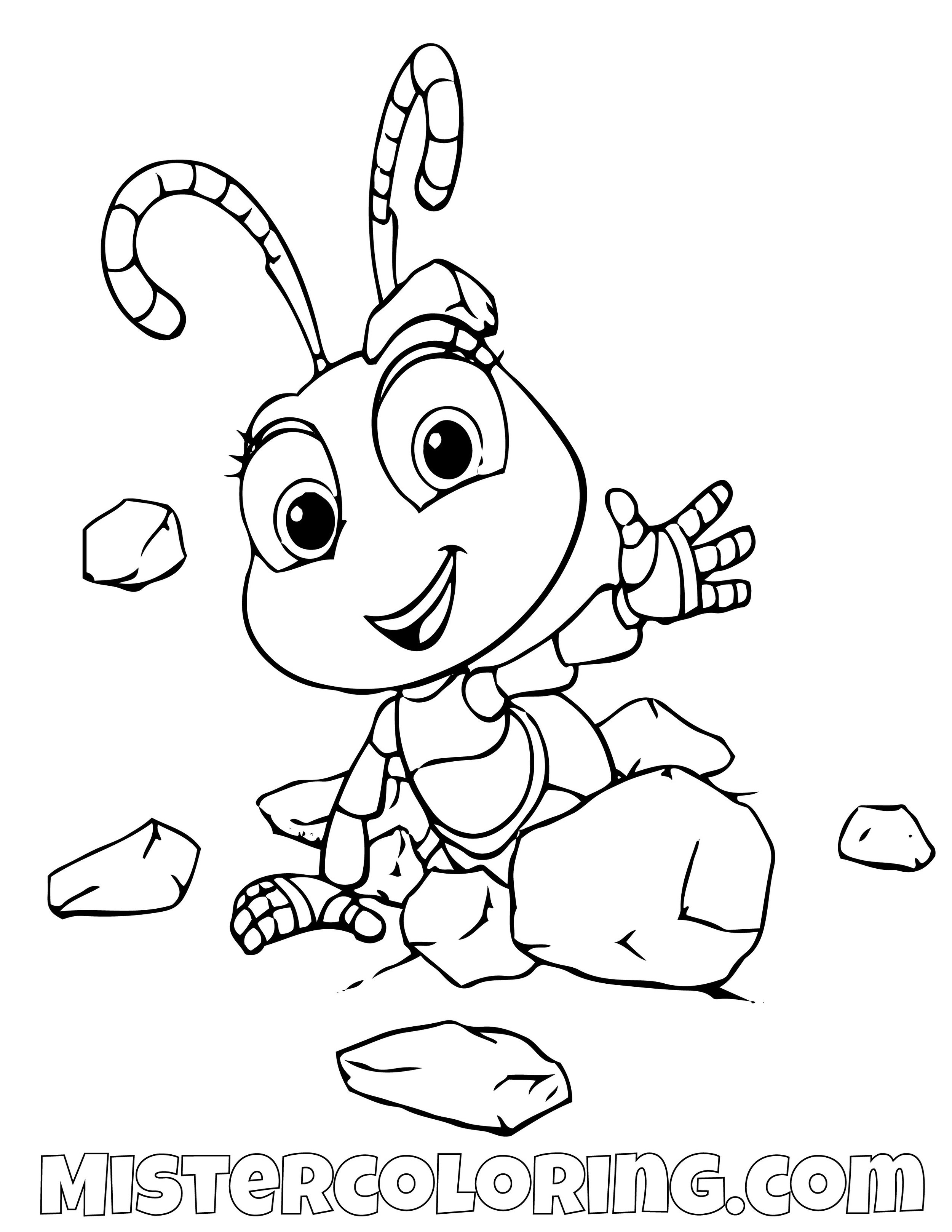 Dot Hiding Under Rocks A Bugs Life Coloring Page