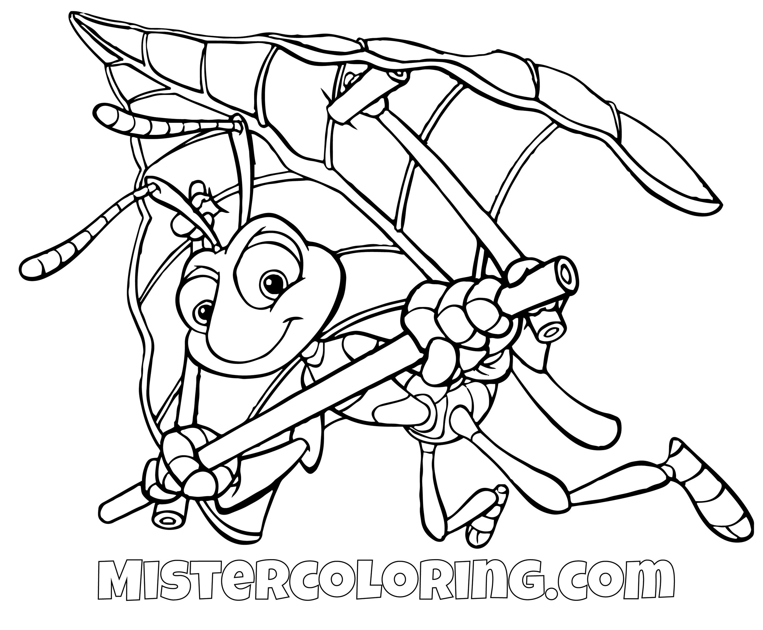 Flick Flying With Leaf A Bugs Life Coloring Page