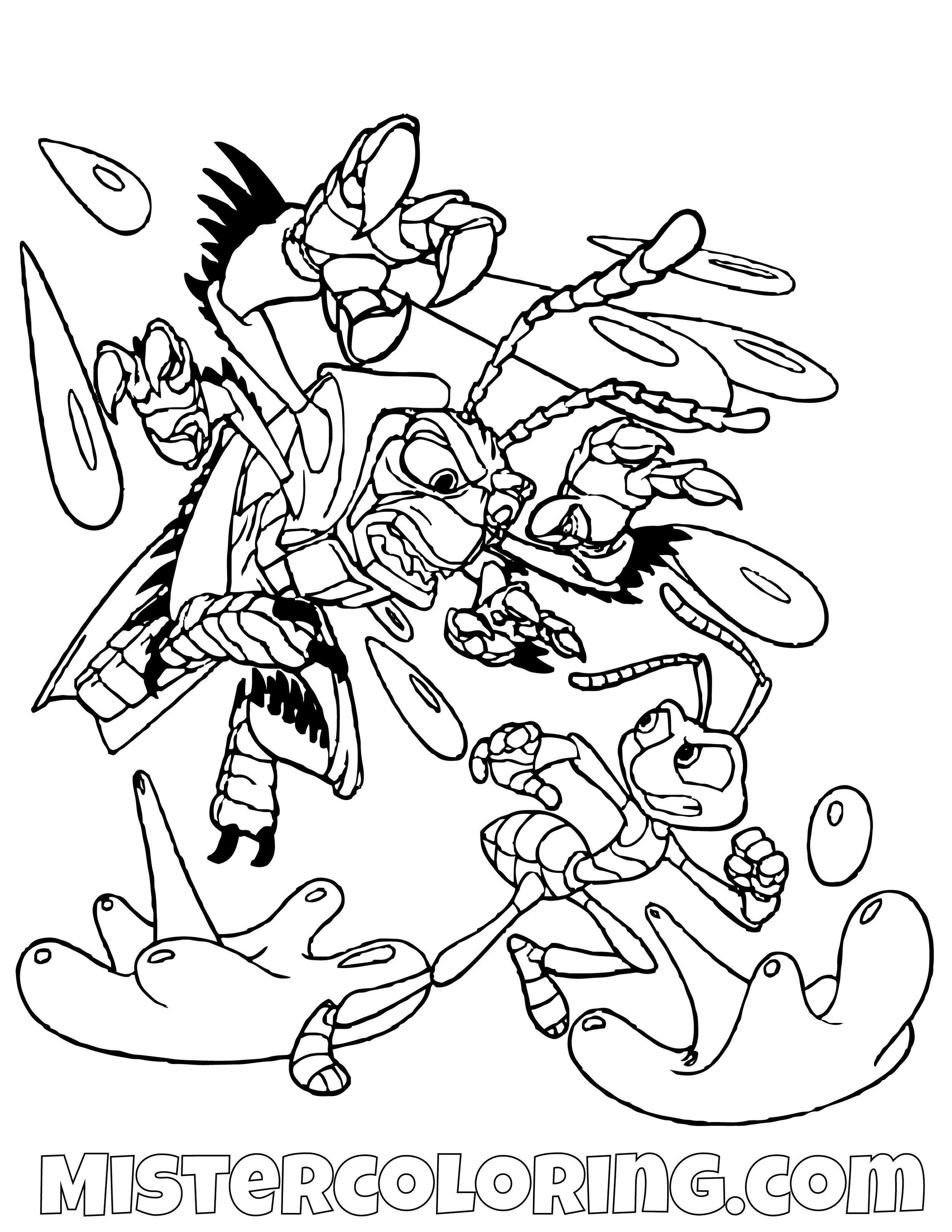 Hopper And Flick Fighting A Bugs Life Coloring Page