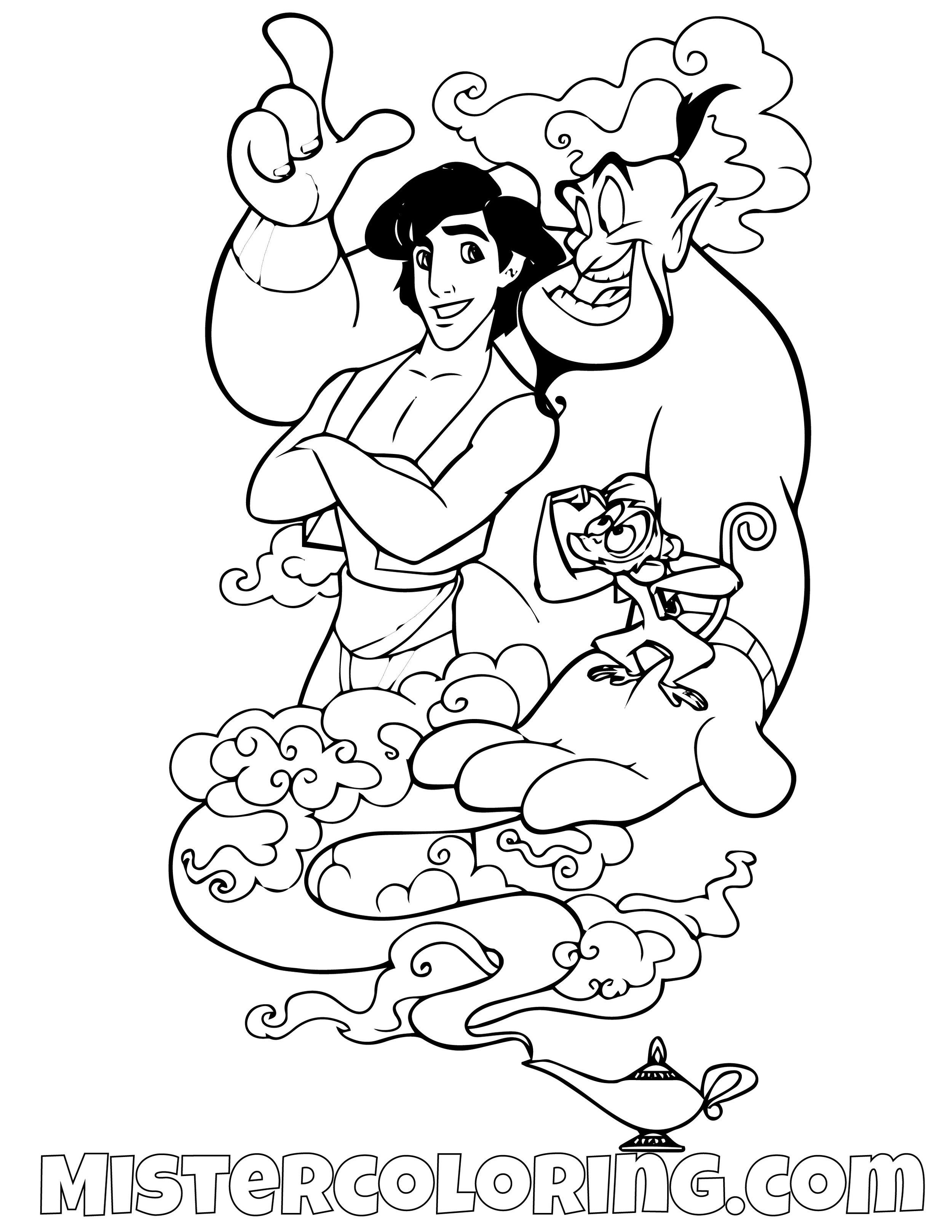 Aladdin Abu And Genie Aladdin Coloring Page