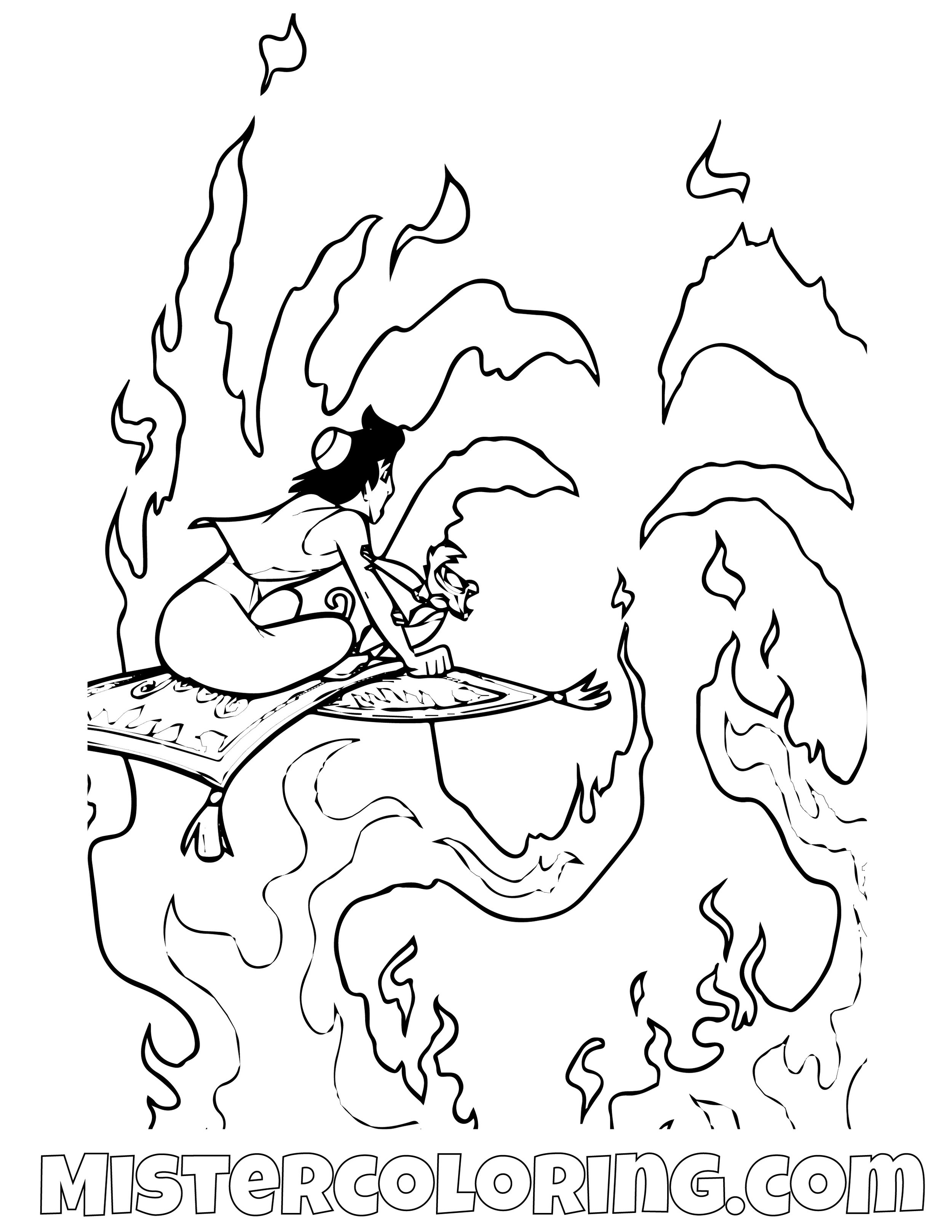 Aladdin And Fire Aladdin Coloring Page