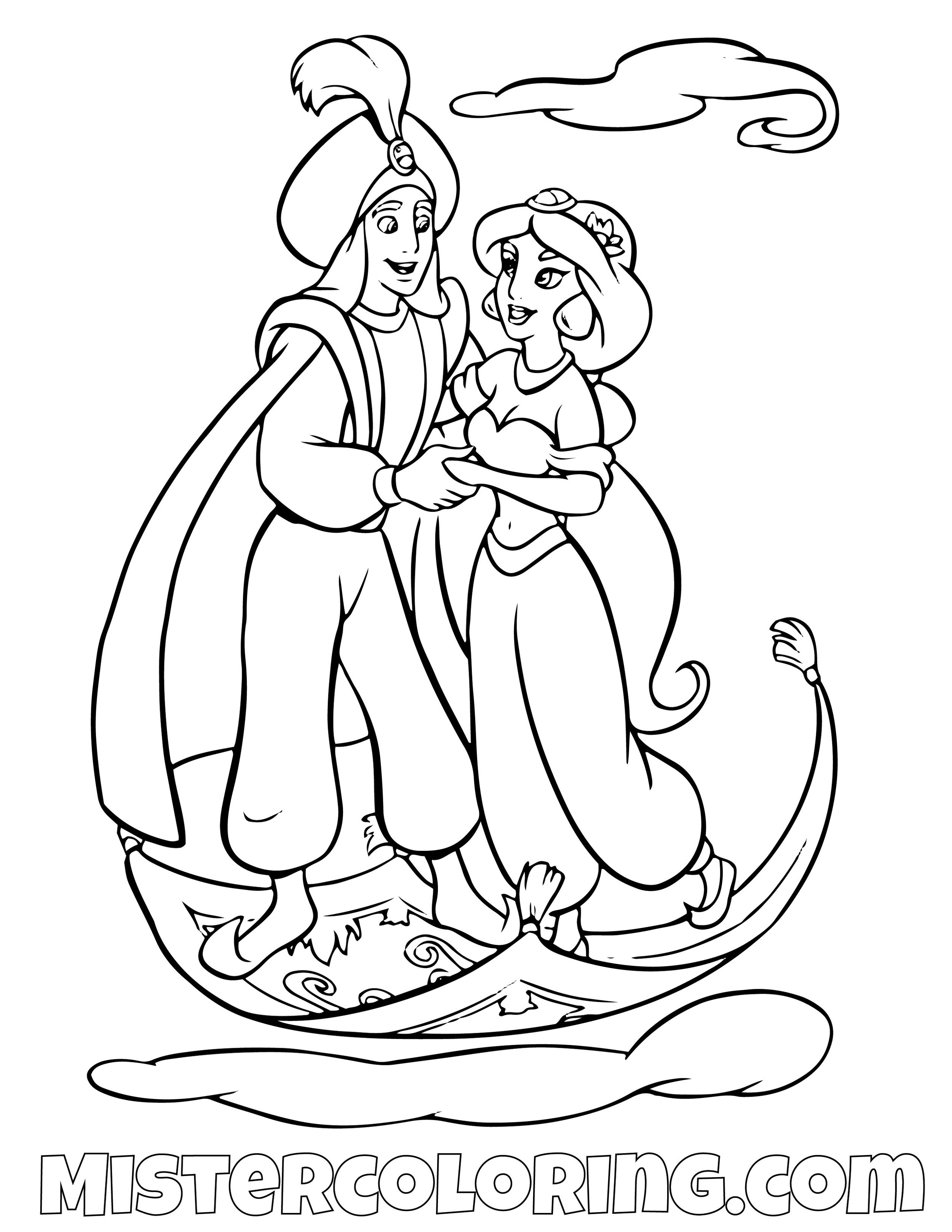 Aladdin Coloring Pages For Kids — Mister Coloring