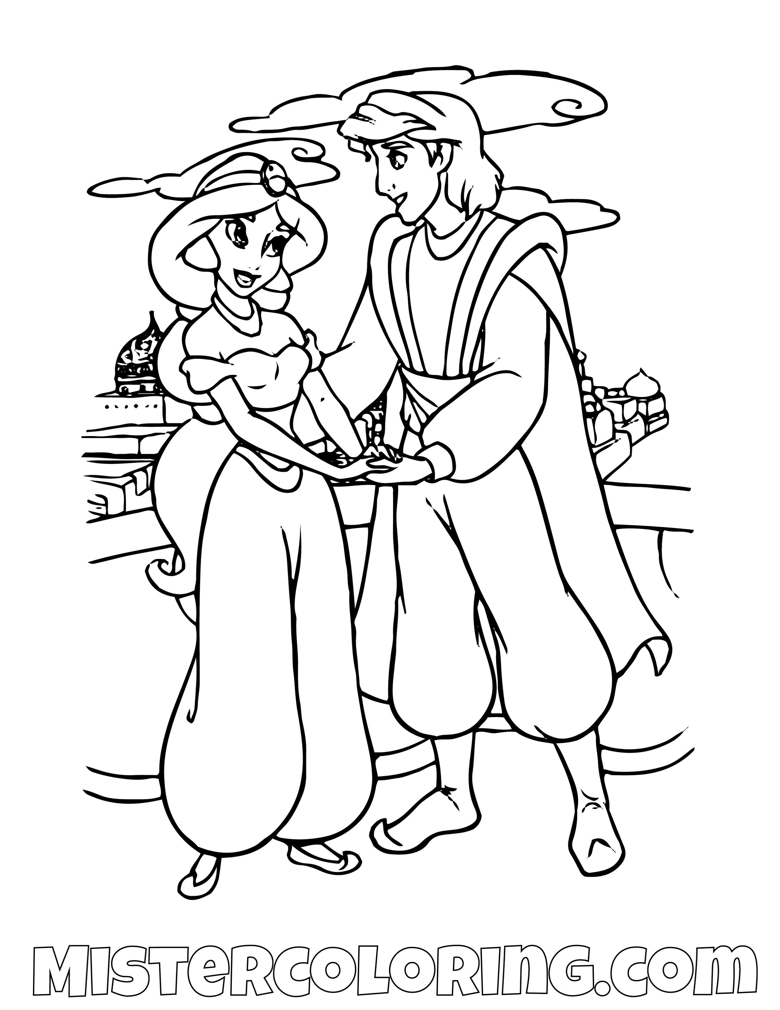 Aladdin And Princess Jasmine Romantic Walk Aladdin Coloring Page