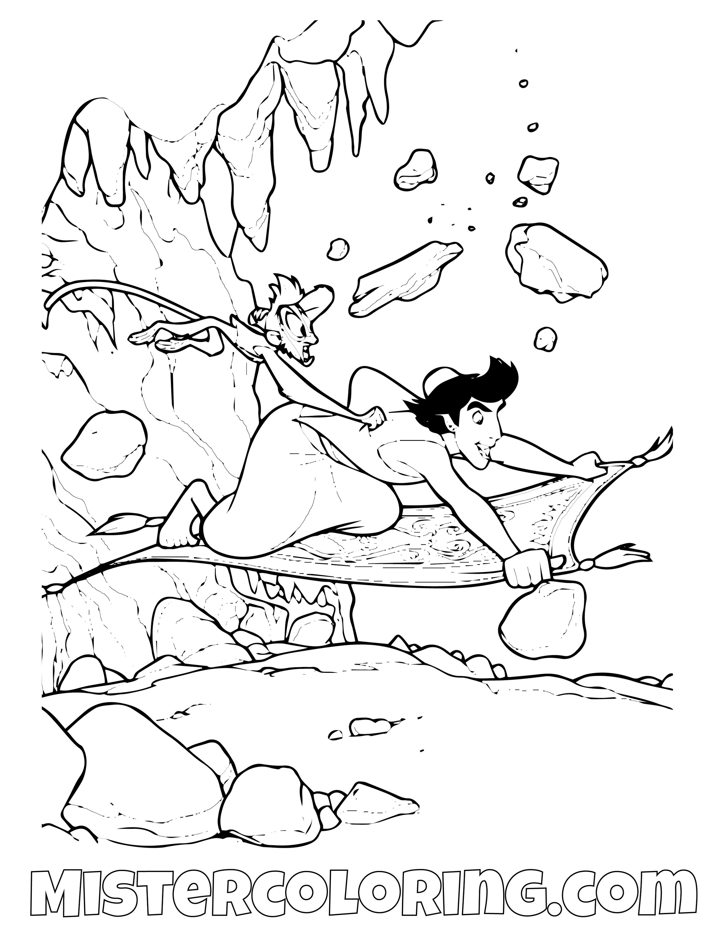 Aladdin Escaping The Cave Aladdin Coloring Page