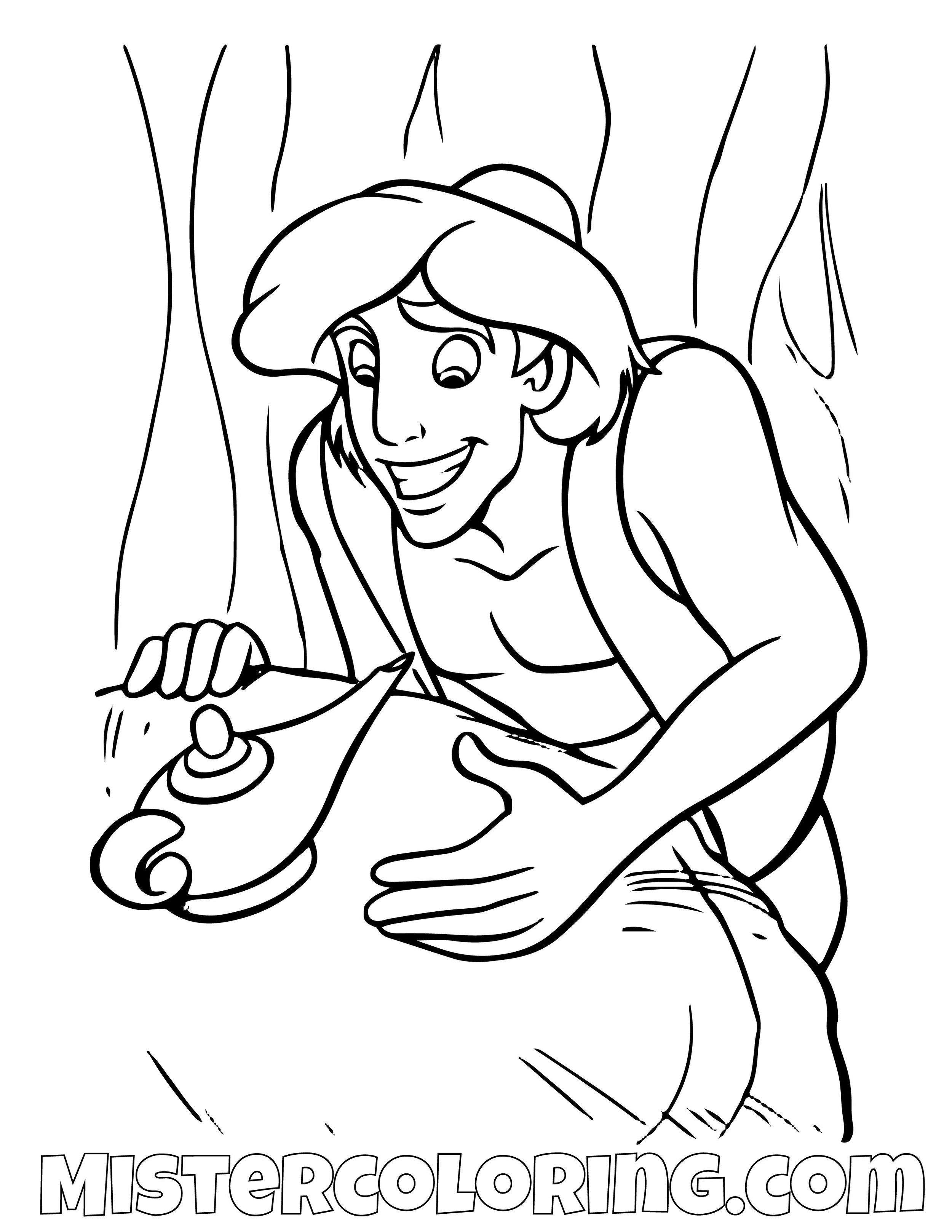 Aladdin Finding Genie Lamp Aladdin Coloring Page