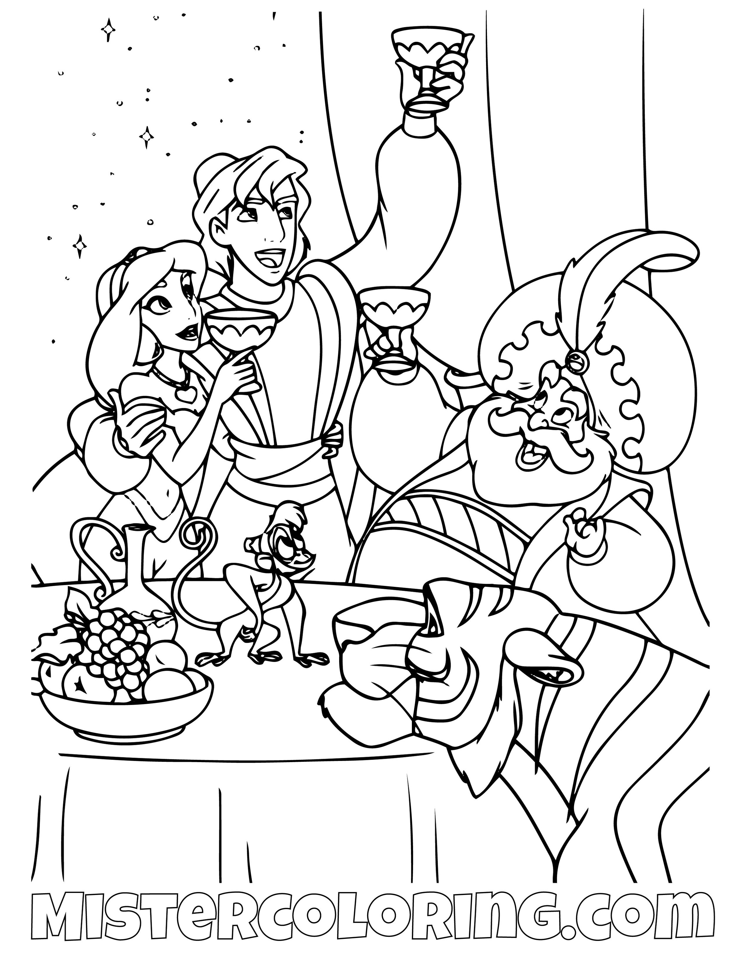 Aladdin Princess Jasmine The Sultan Abu And Rajah Aladdin Coloring Page
