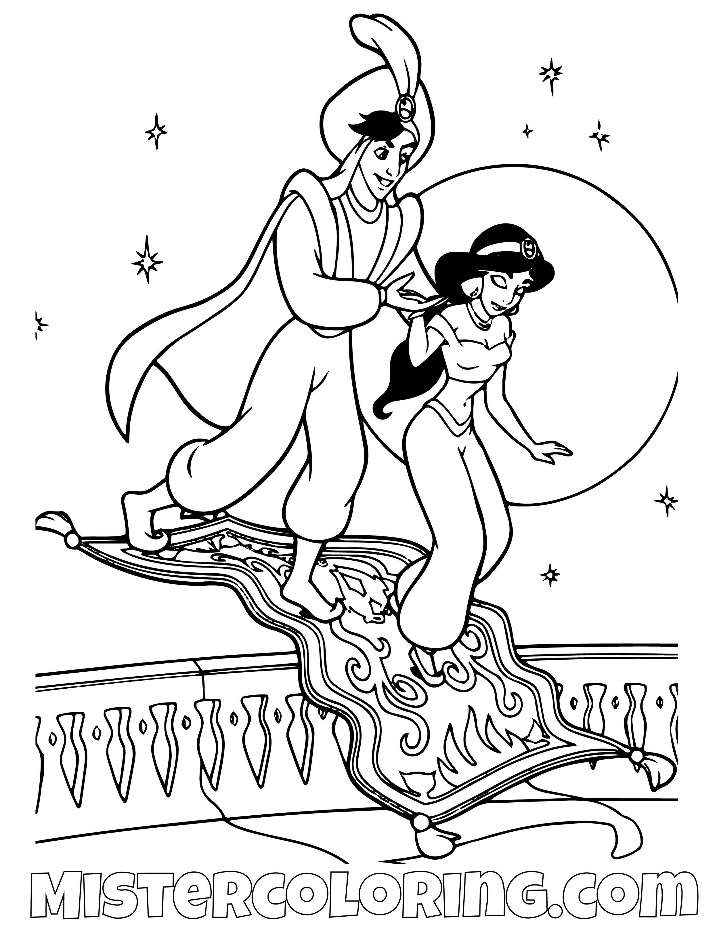 Aladdin Returning Princess Jasmine To Her Palace Aladdin Coloring Page