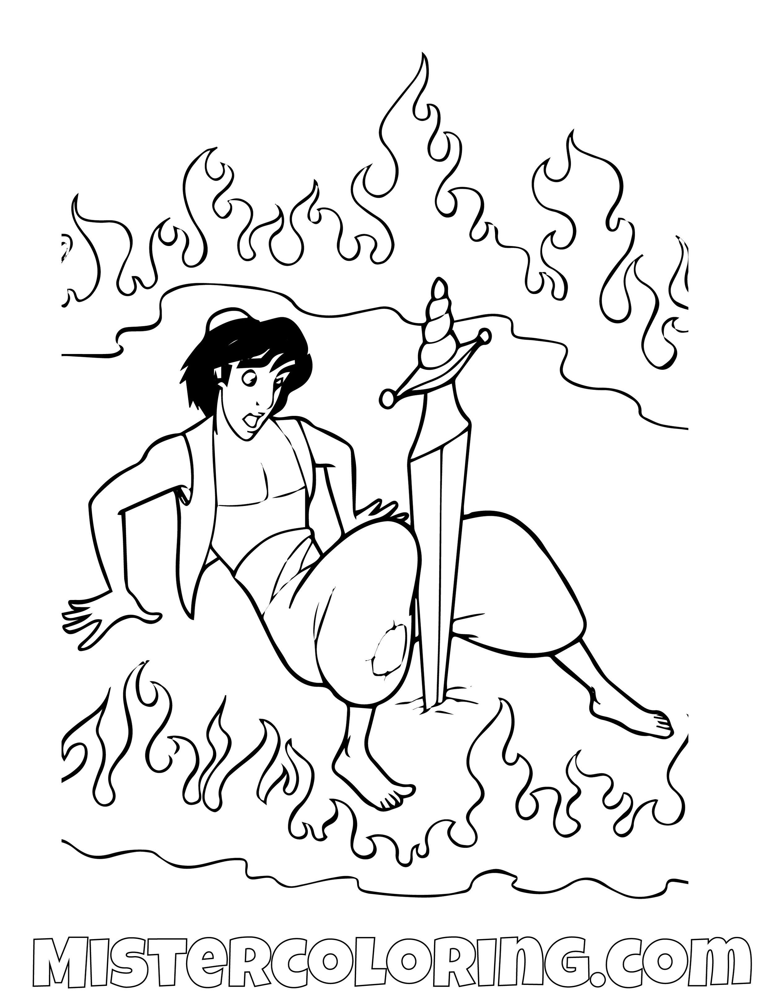 Aladdin Sword Aladdin Coloring Page