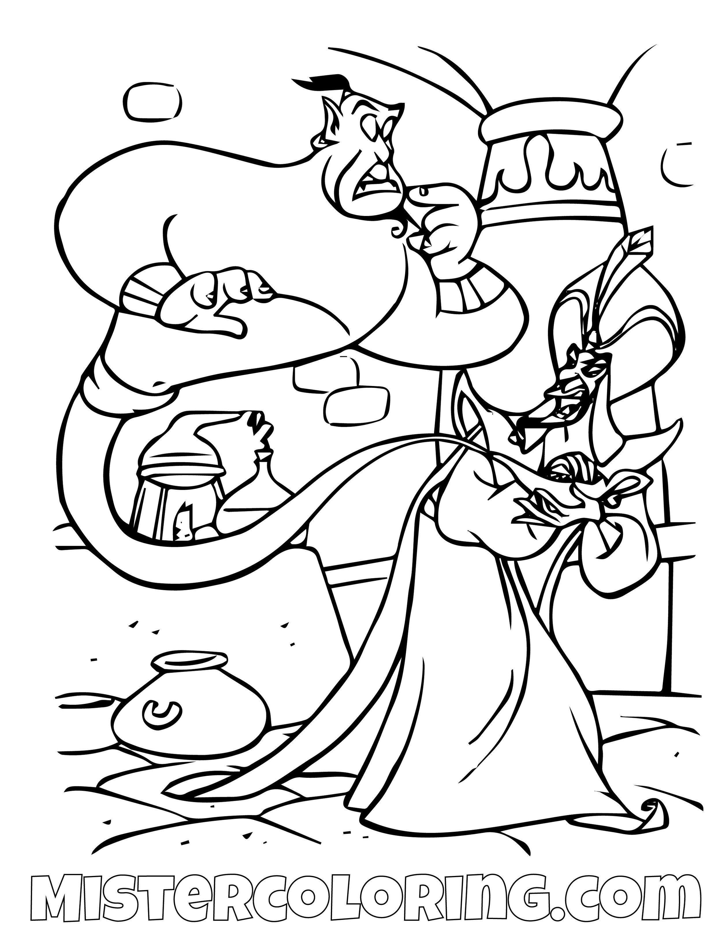 Genie  Captured By Jafar Aladdin Coloring Page