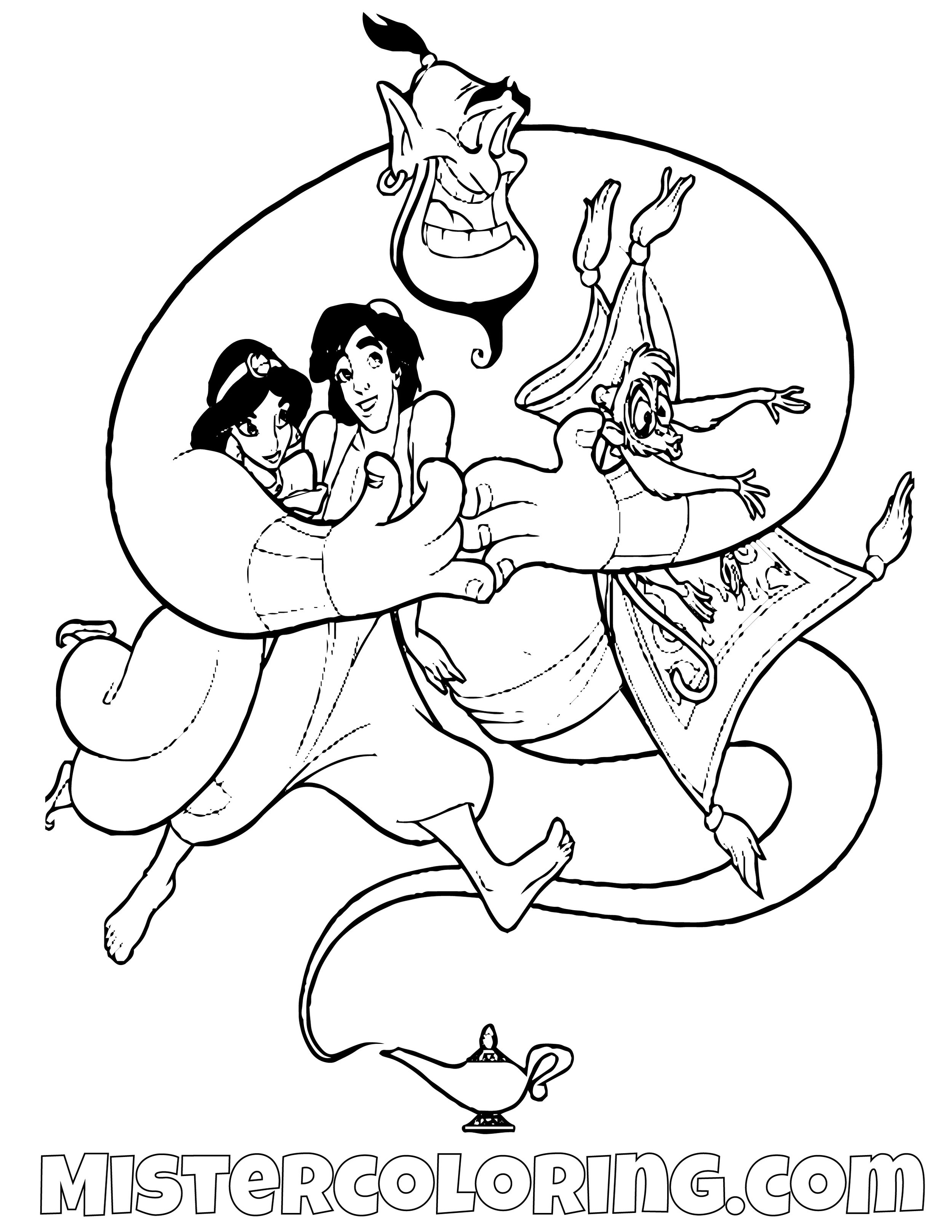 Genie Hugging Princess Jasmine Aladdin And Abu Aladdin Coloring Page