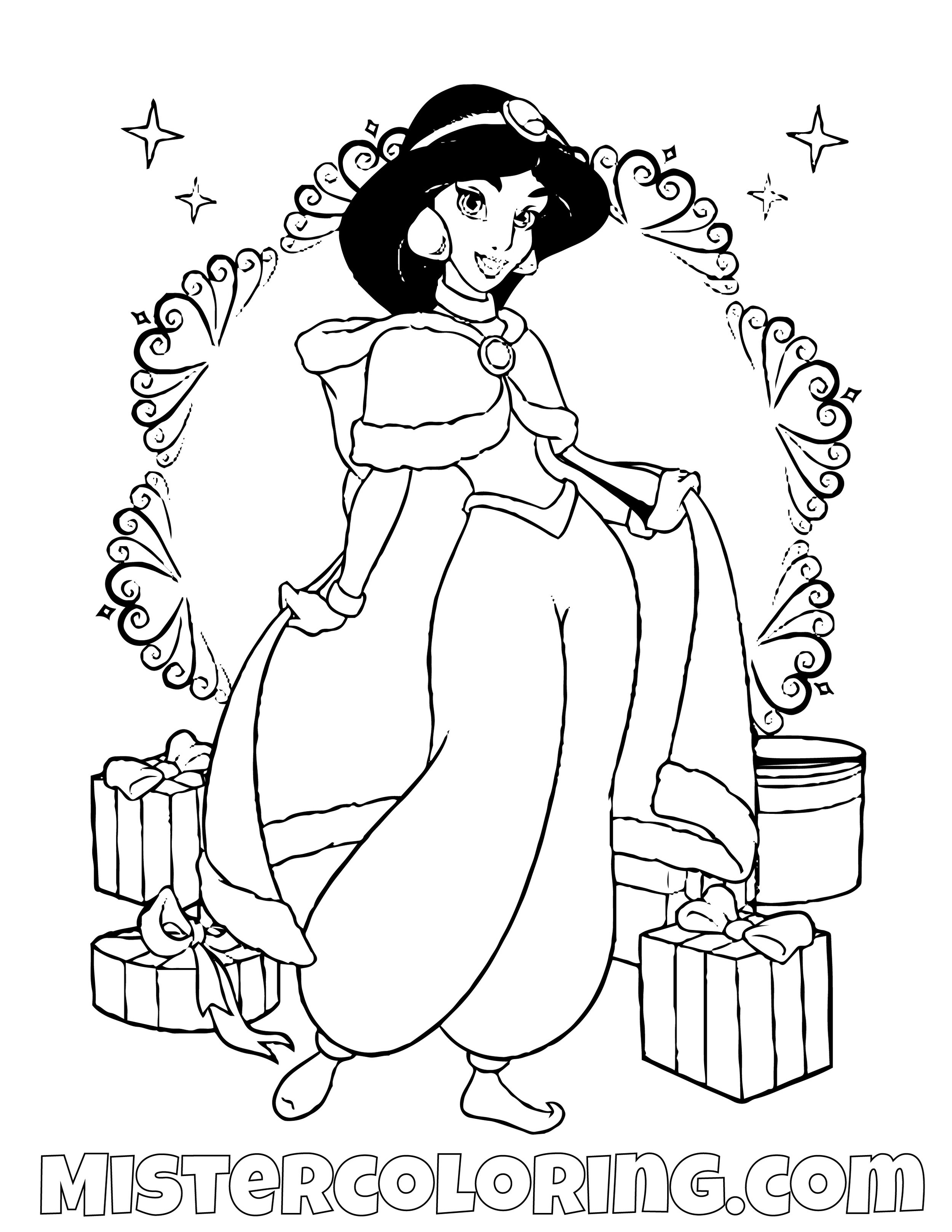 Jasmine On Christmas Aladdin Coloring Page