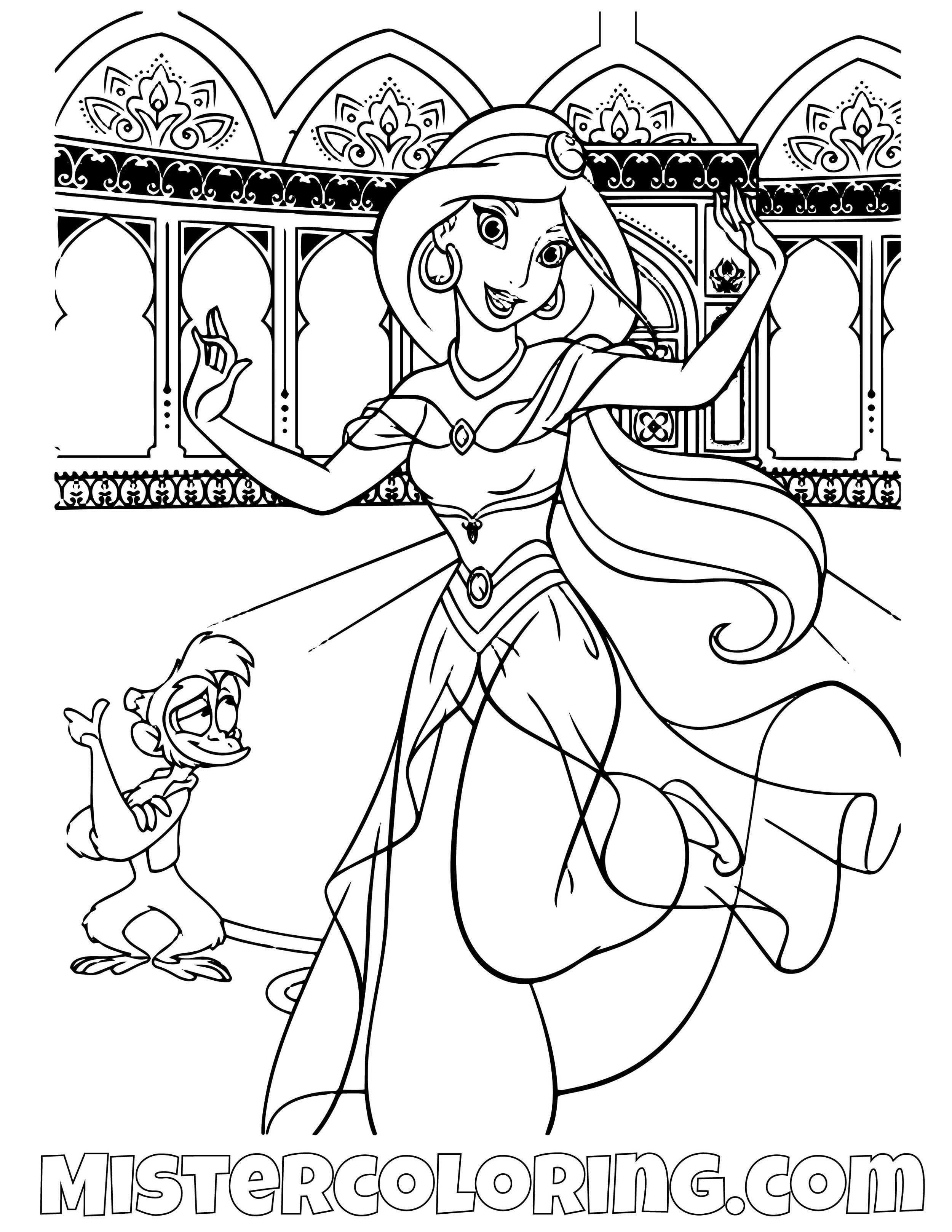 Princess Jasmine And Abu Dancing Aladdin Coloring Page
