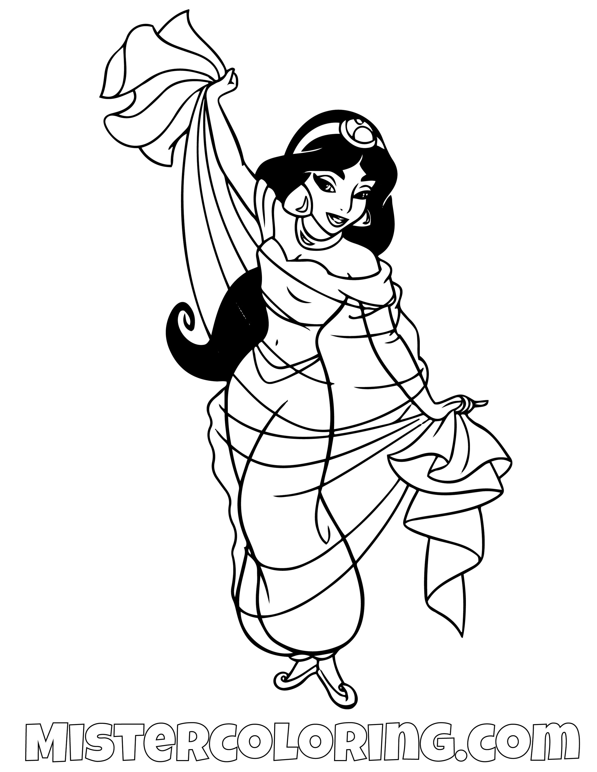 Princess Jasmine Dancing Aladdin Coloring Page