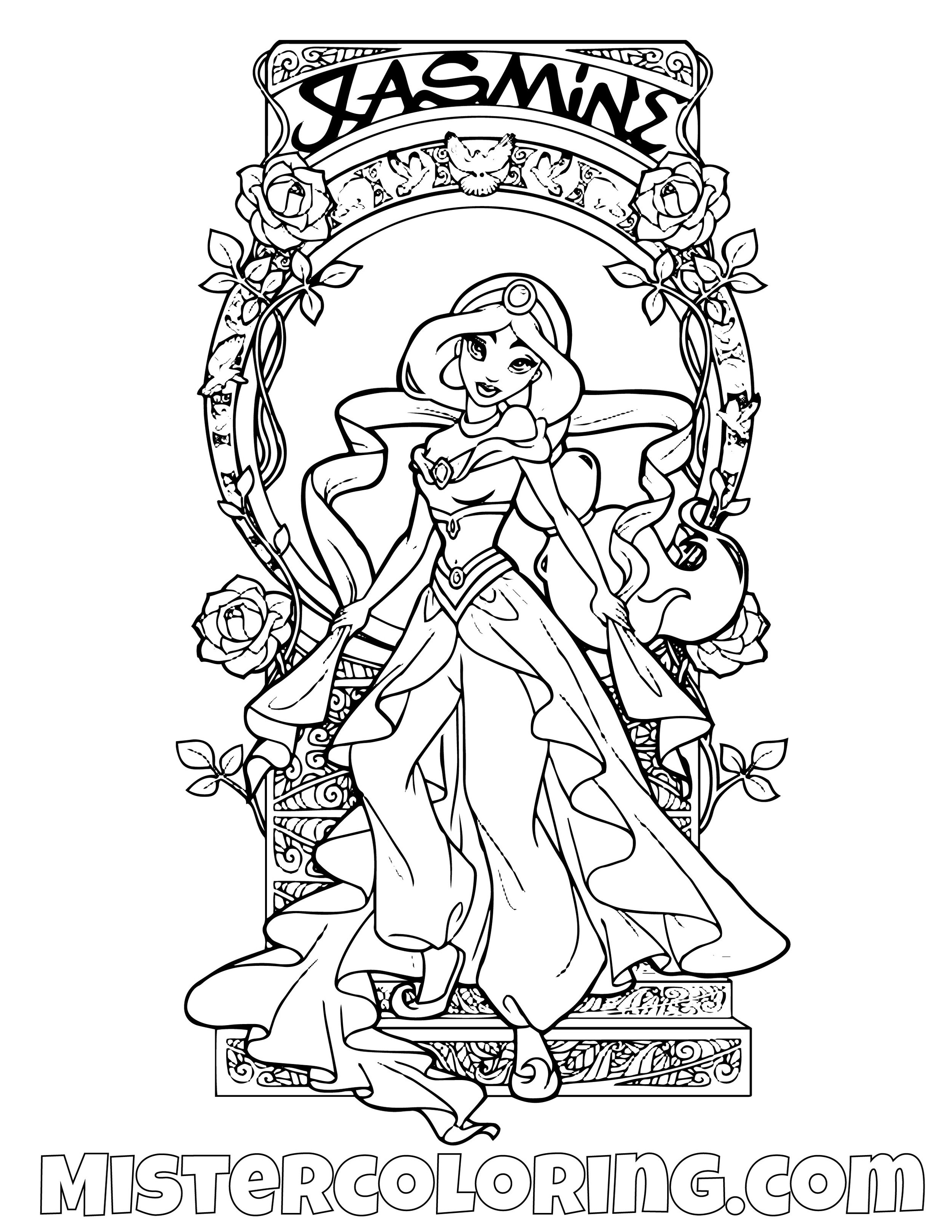 Princess Jasmine Cover Aladdin Coloring Page