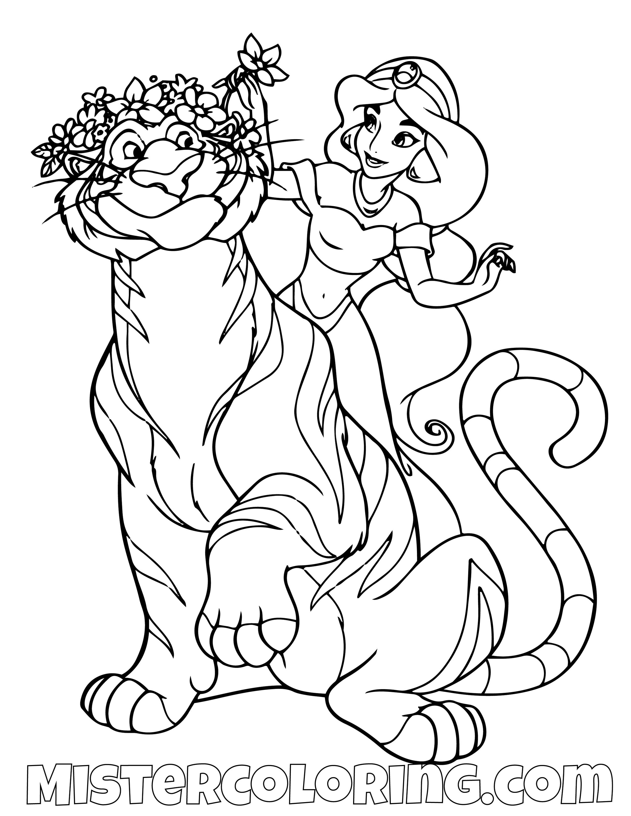 Princess Jasmine Giving Rajah A Flower Crown Aladdin Coloring Page