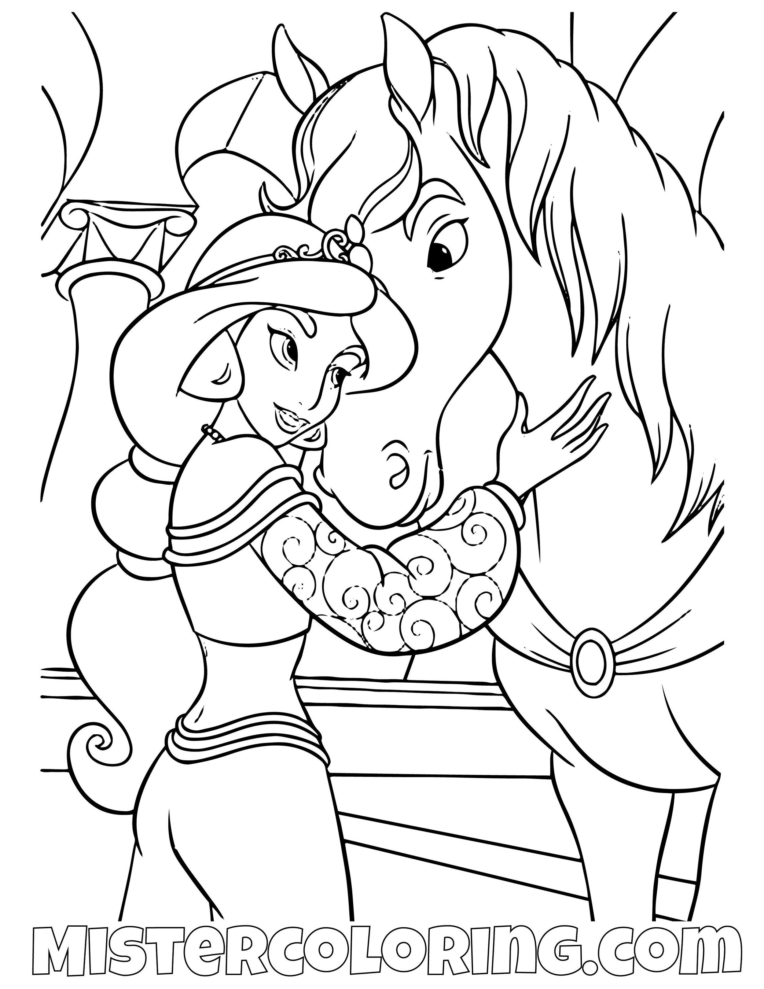 Princess Jasmine Hugging Sarah Aladdin Coloring Page