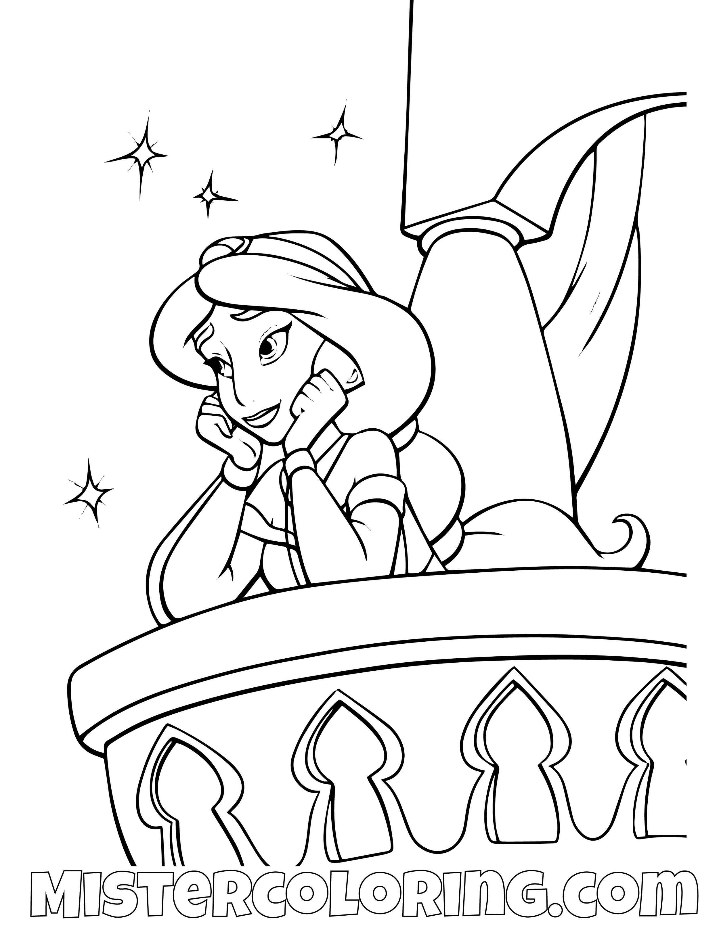Princess Jasmine On Porch Aladdin Coloring Page