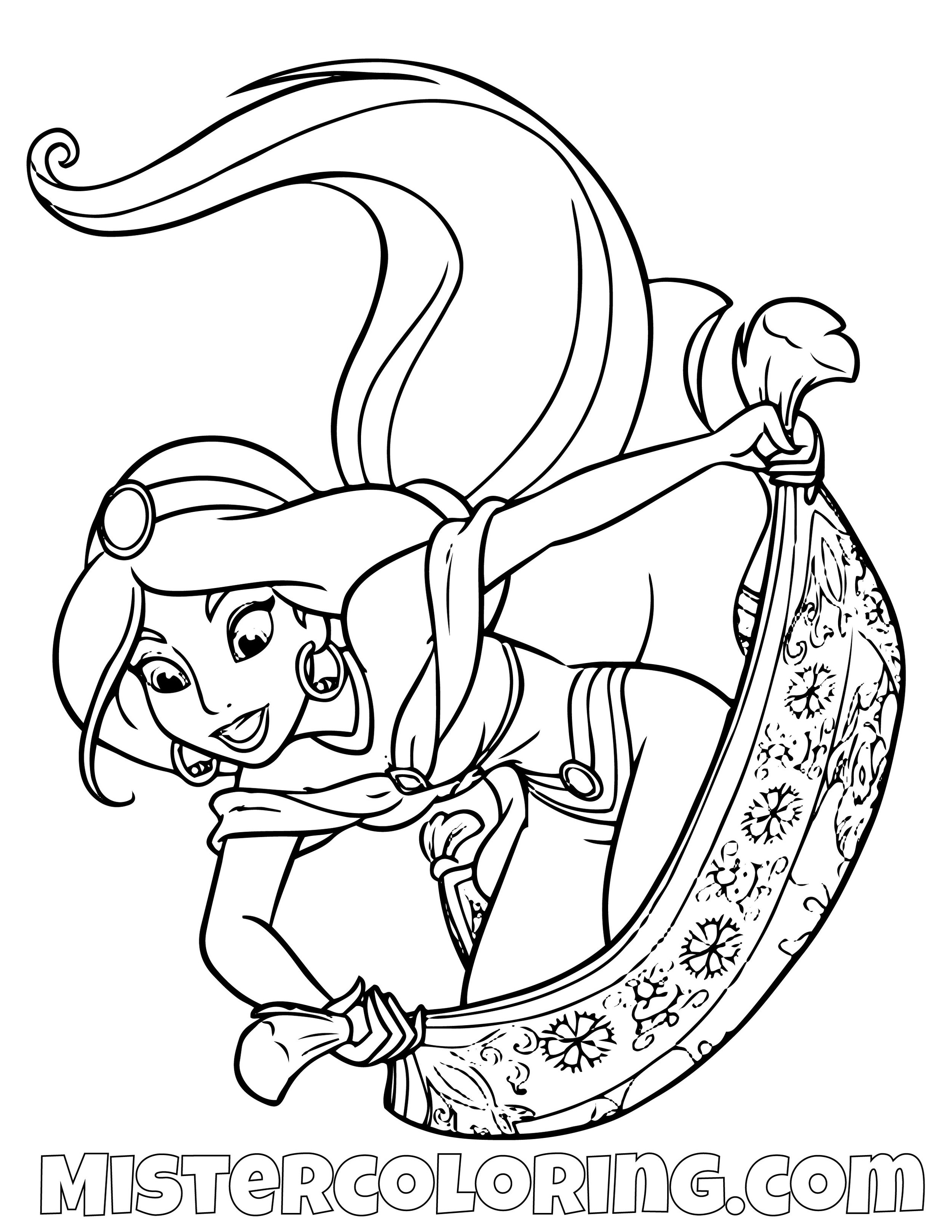 Princess Jasmine Riding Carpet Aladdin Coloring Page
