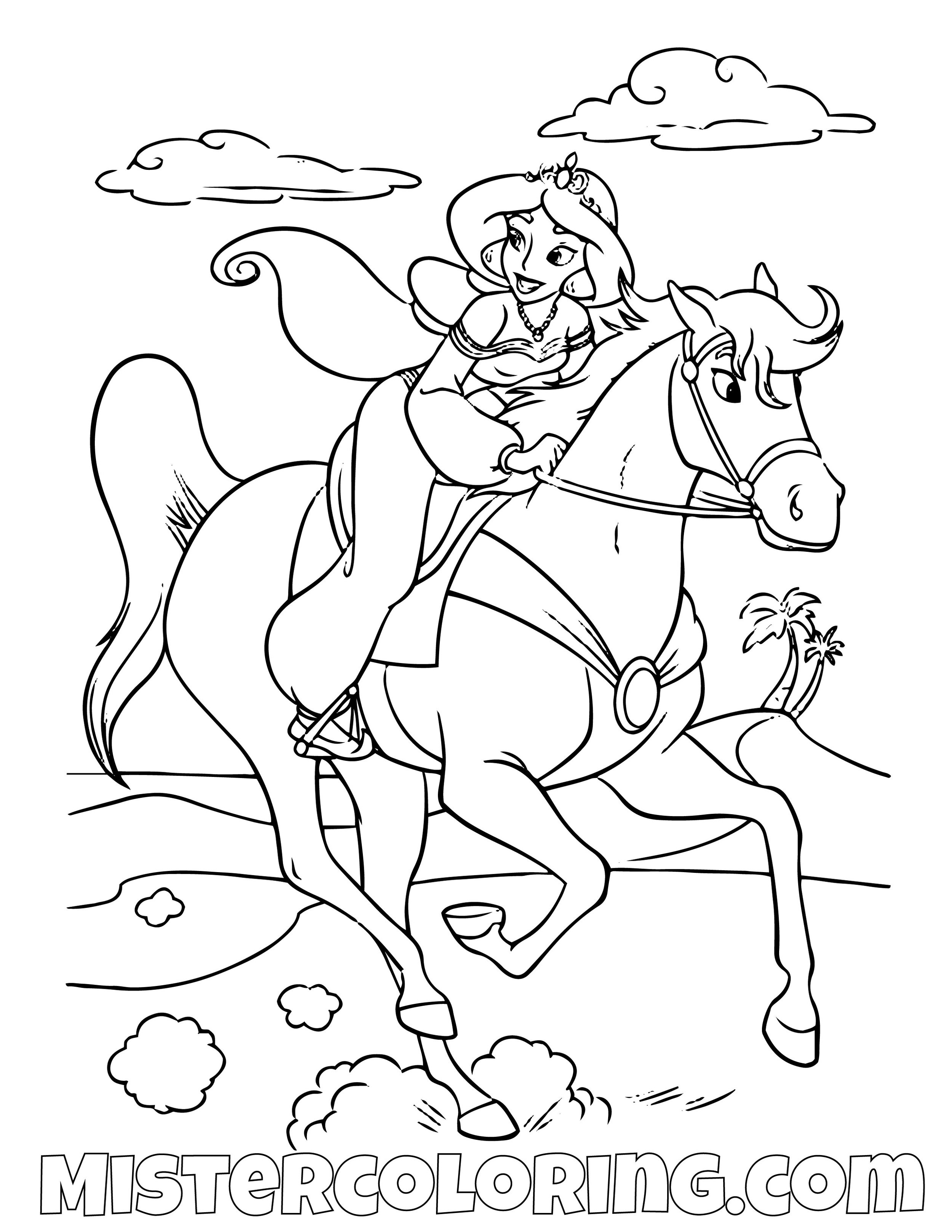 Princess Jasmine Riding Sahara Aladdin Coloring Page