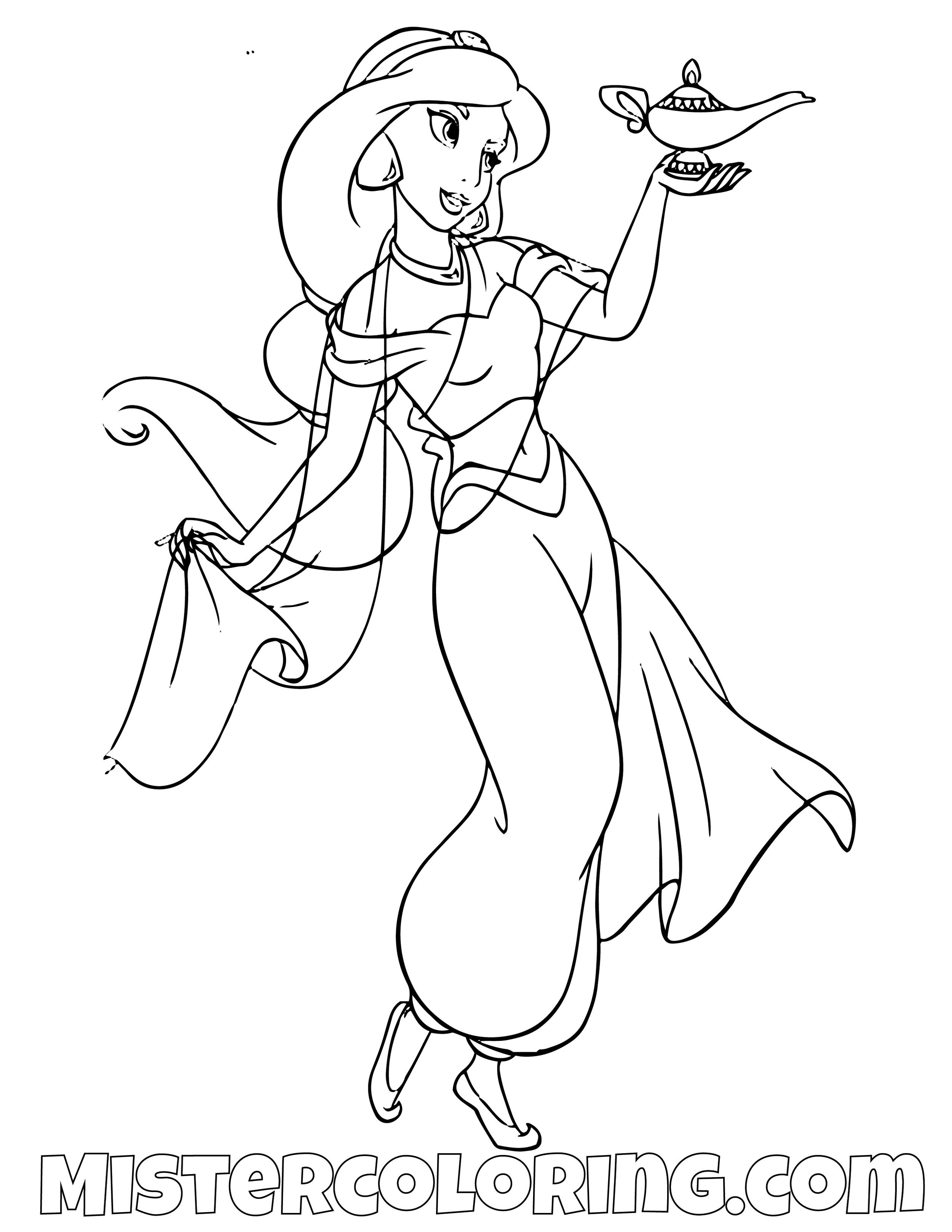 Princess Jasmine With Genie Lamp Aladdin Coloring Page