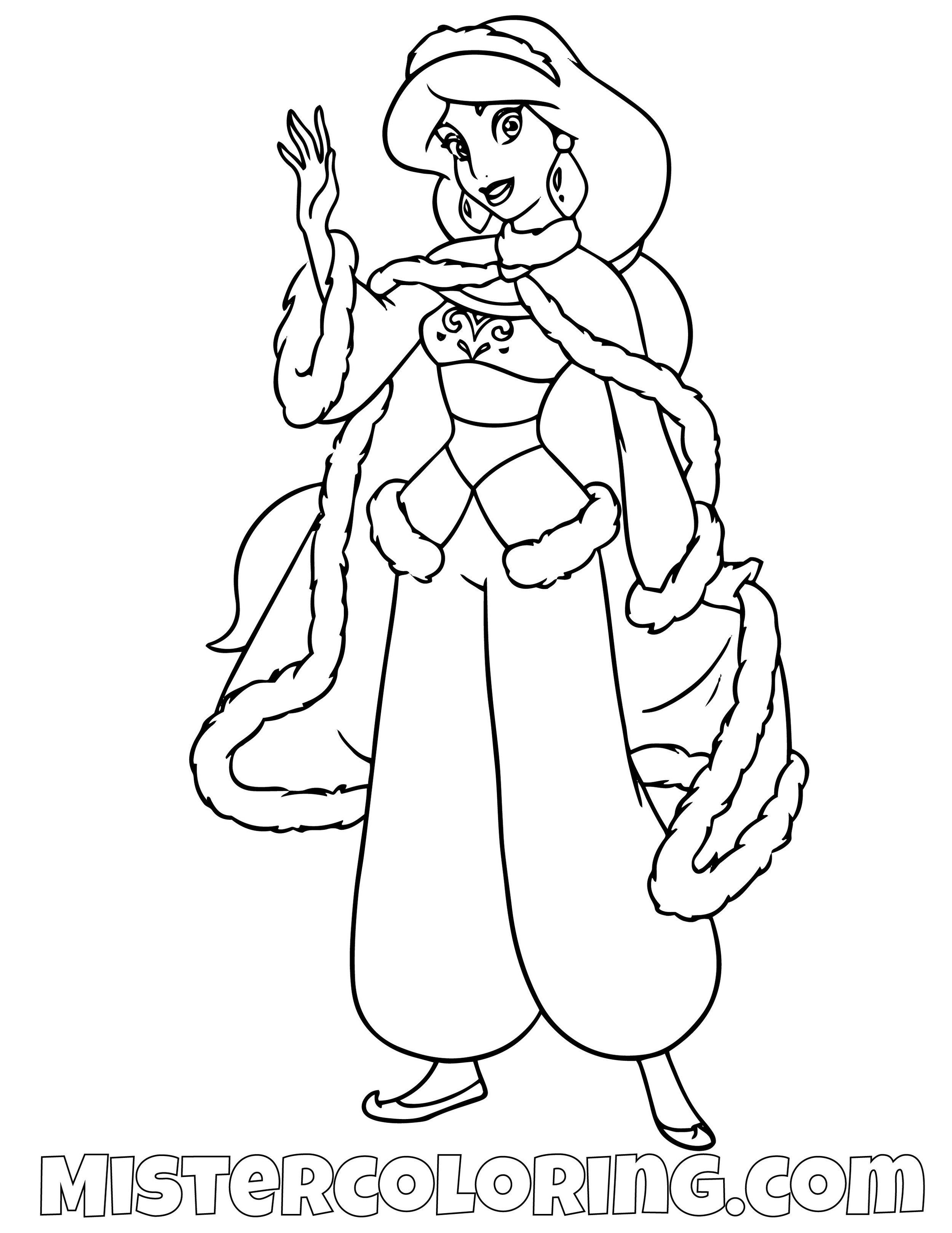 Princess Jasmine With Winter Sweater Aladdin Coloring Page